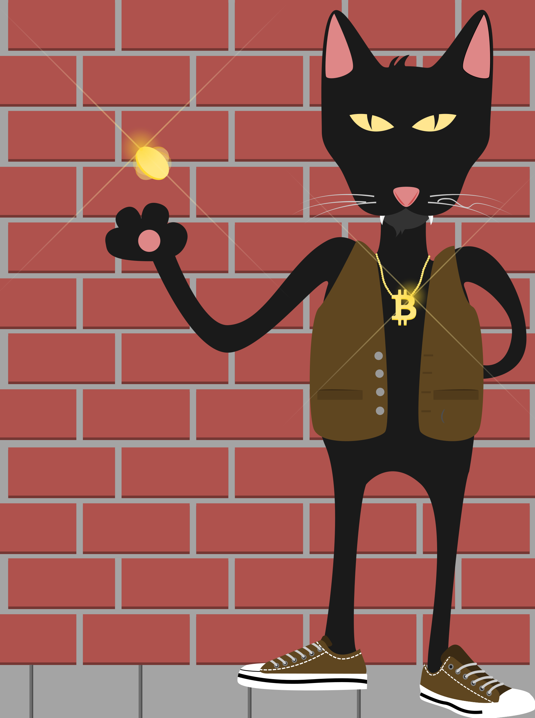 cat flipping coin by Korbac