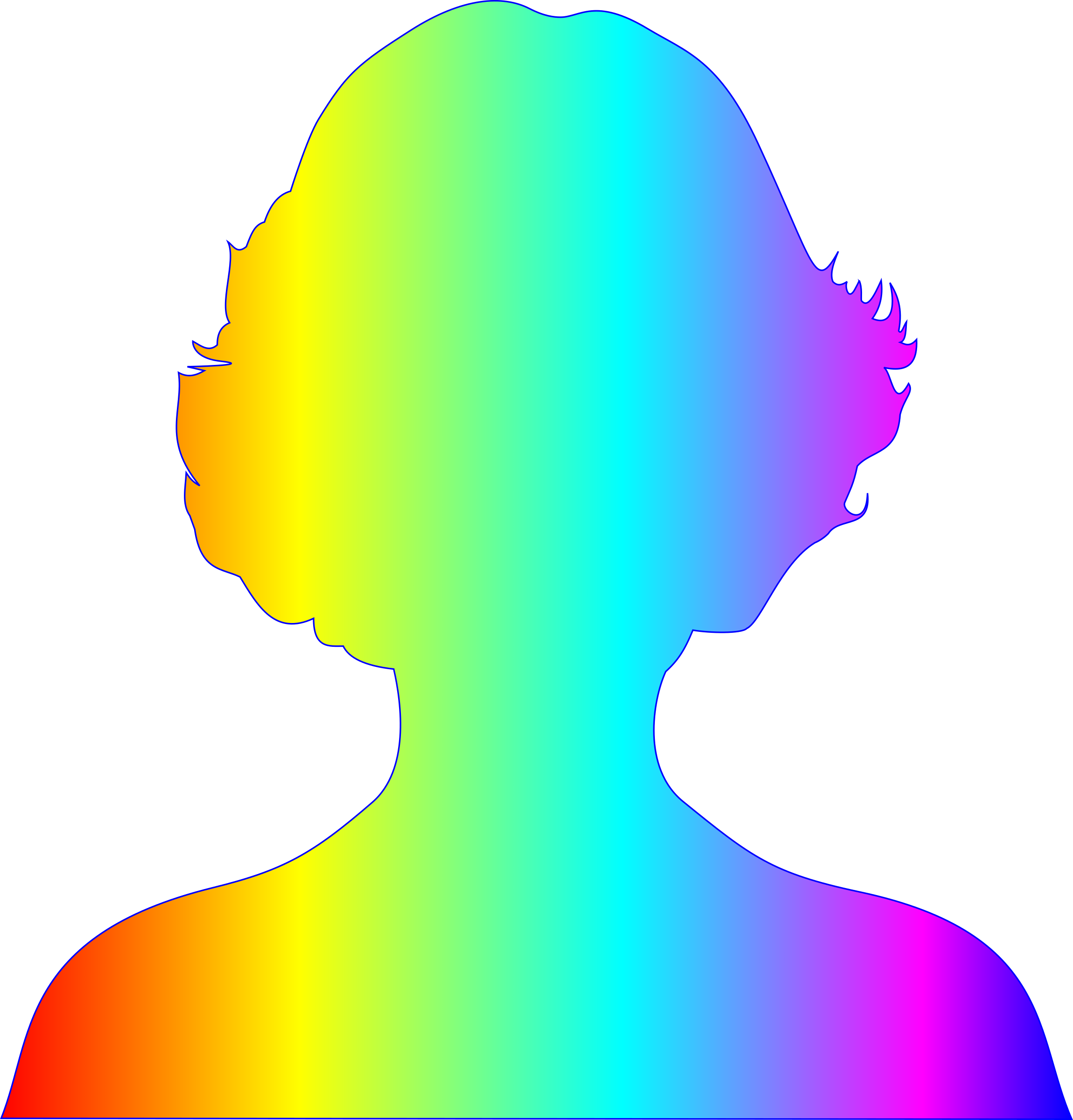 female silhouette with rainbow gradient by Manuela.