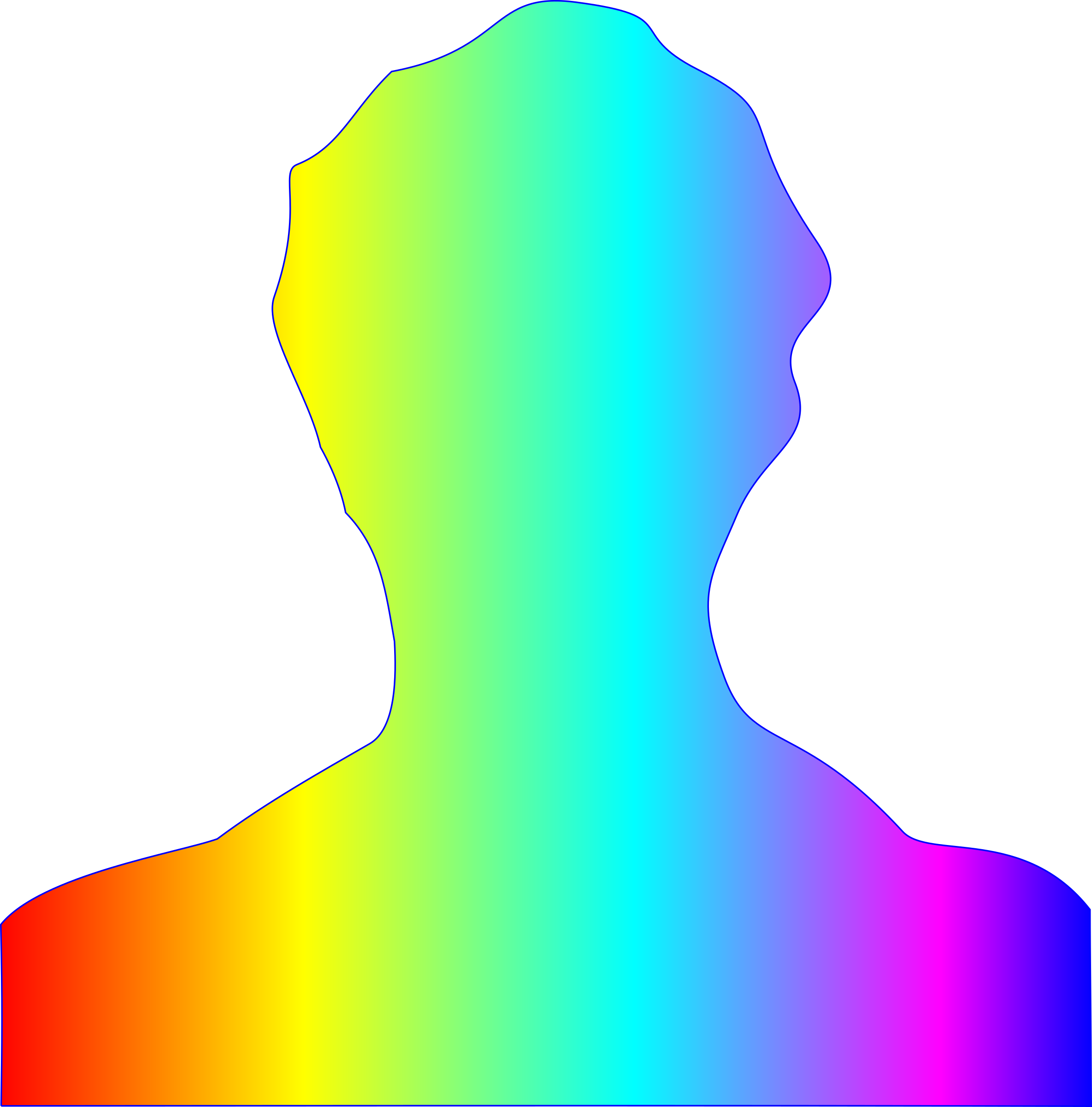 male silhouette with rainbow gradient by Manuela.