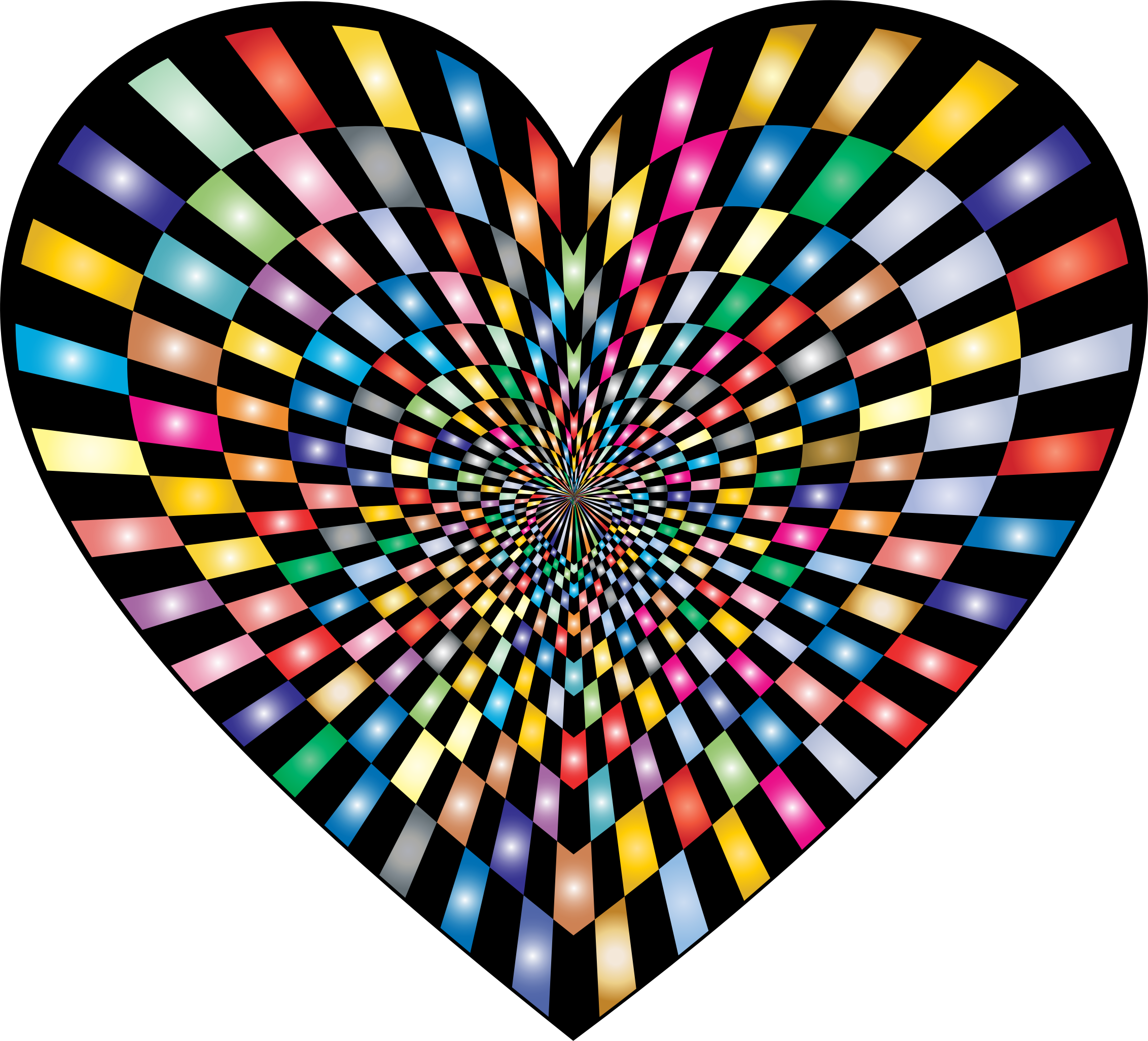 Optical Illusion Checkerboard Heart Prismatic by GDJ