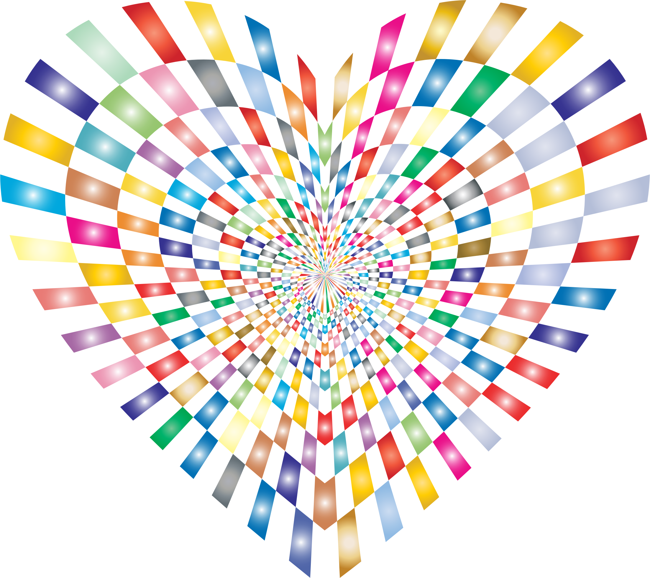 Optical Illusion Checkerboard Heart Prismatic No Background by GDJ