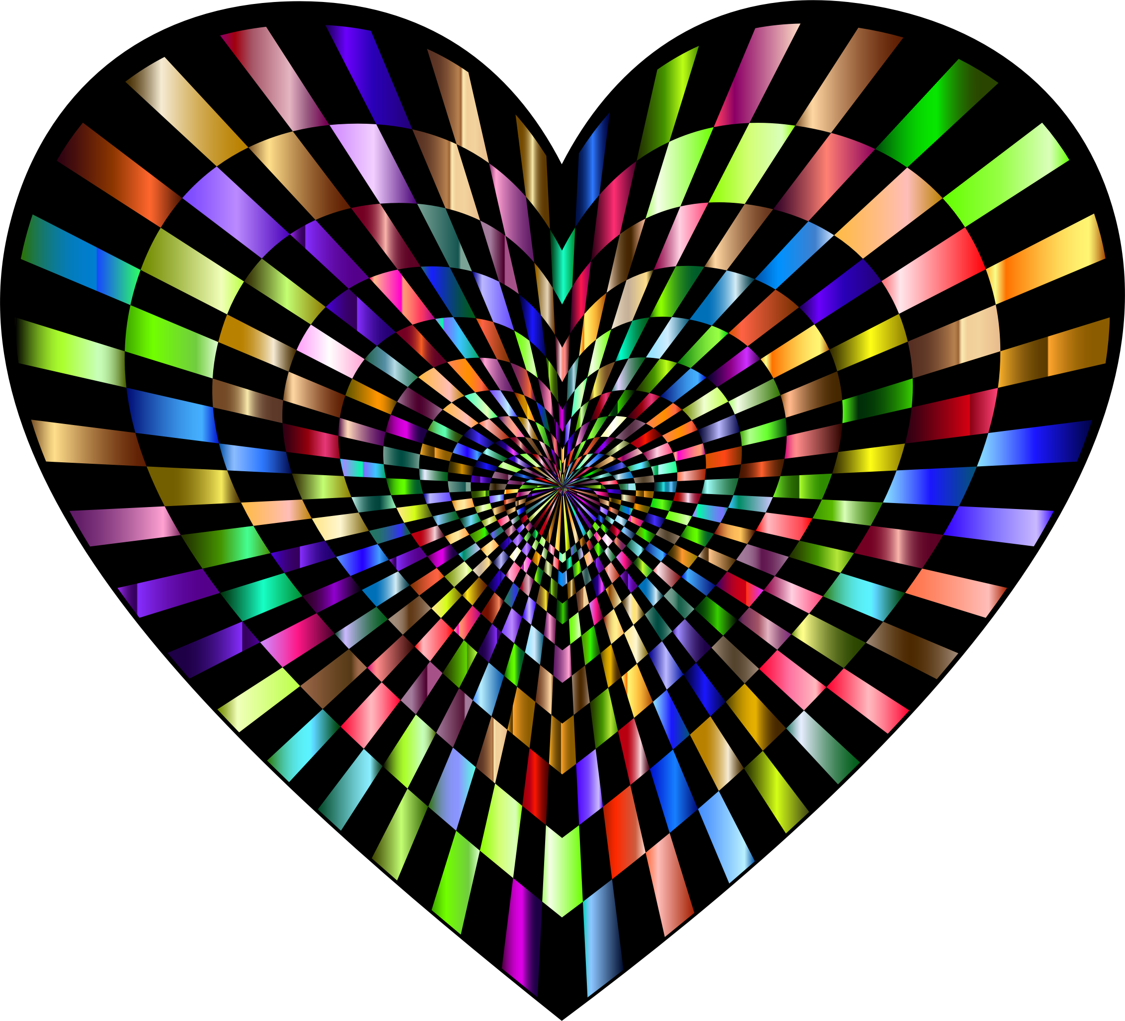 Optical Illusion Checkerboard Heart Prismatic 2 by GDJ