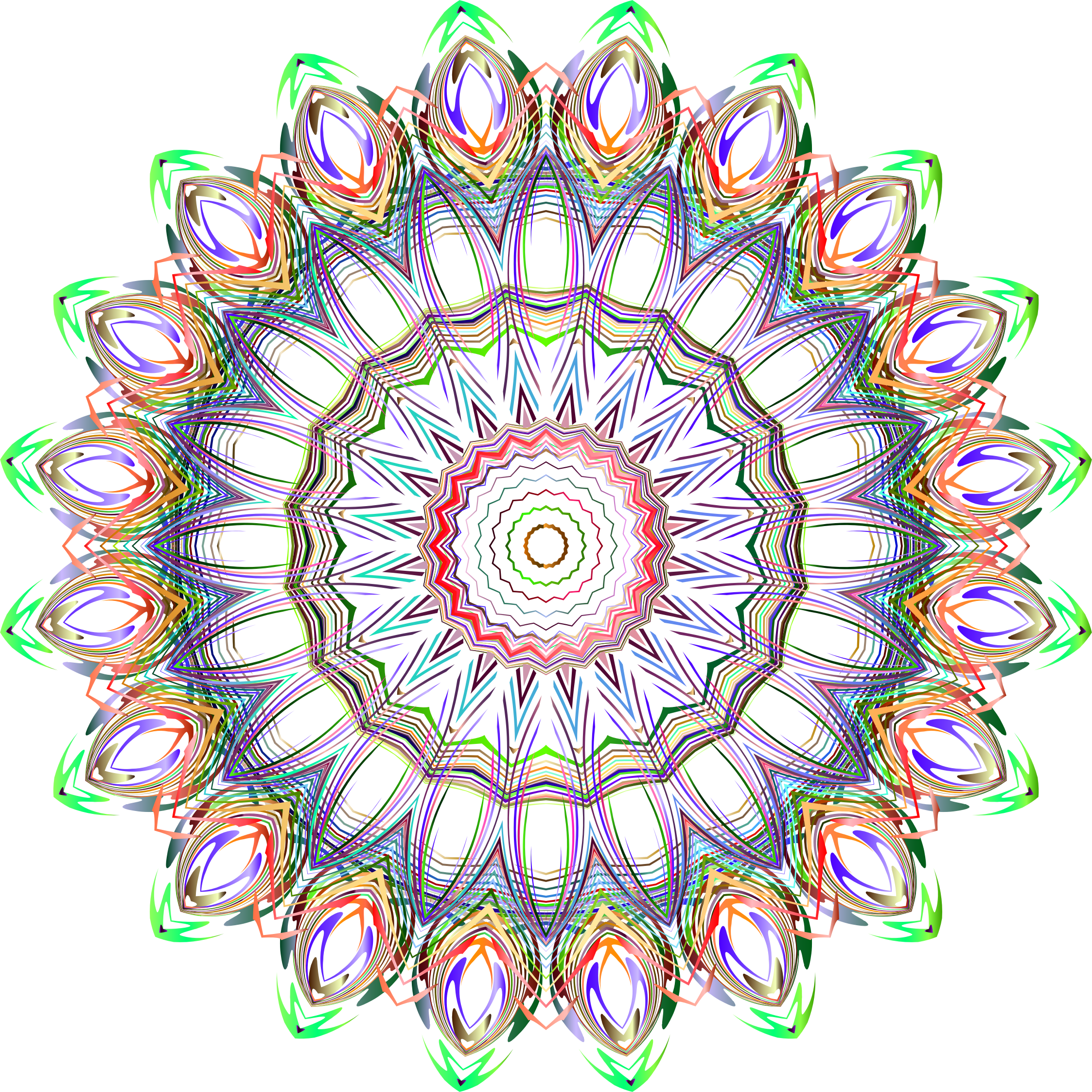Chromatic Mandala Line Art No Background by GDJ