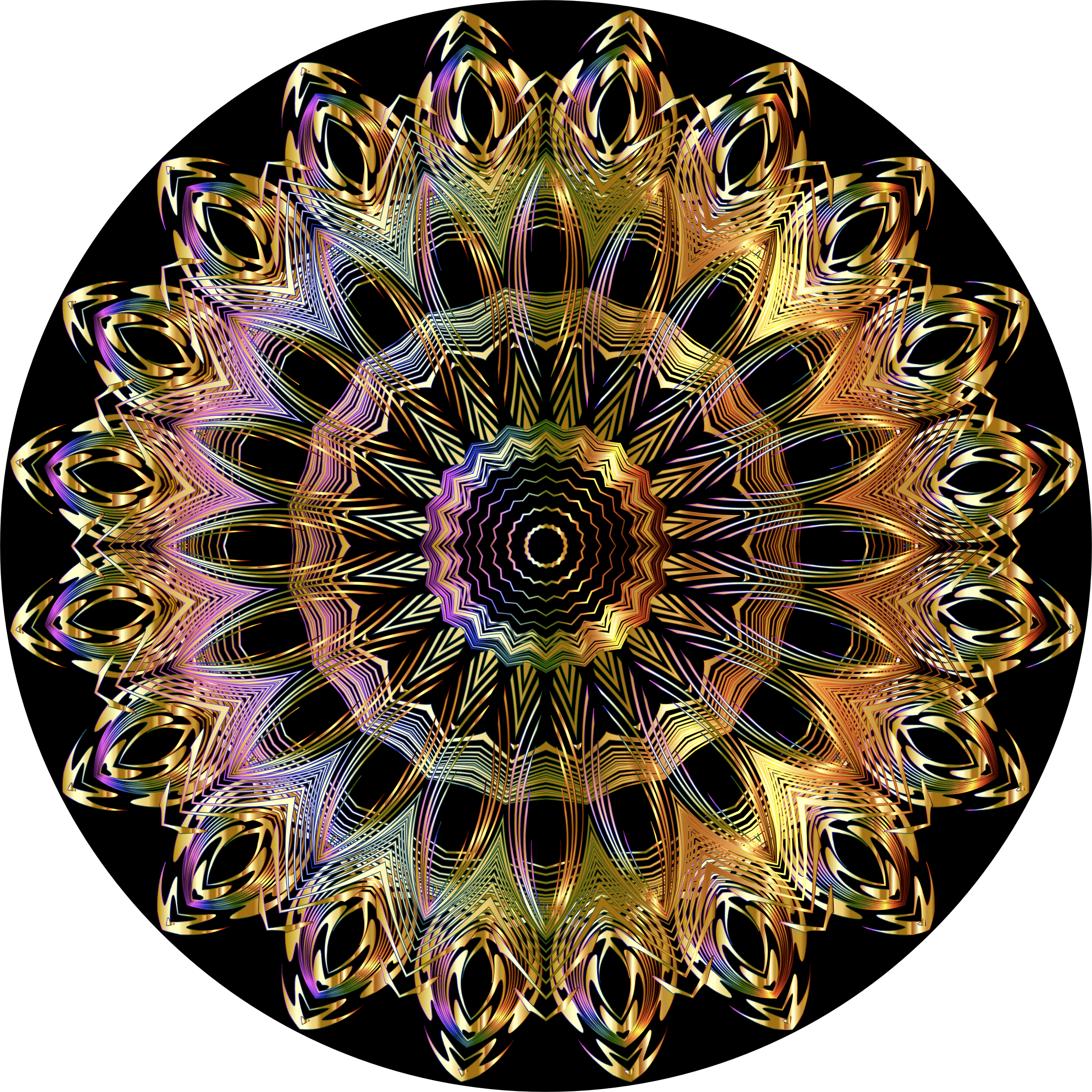 Chromatic Mandala Line Art Gold Extra by GDJ