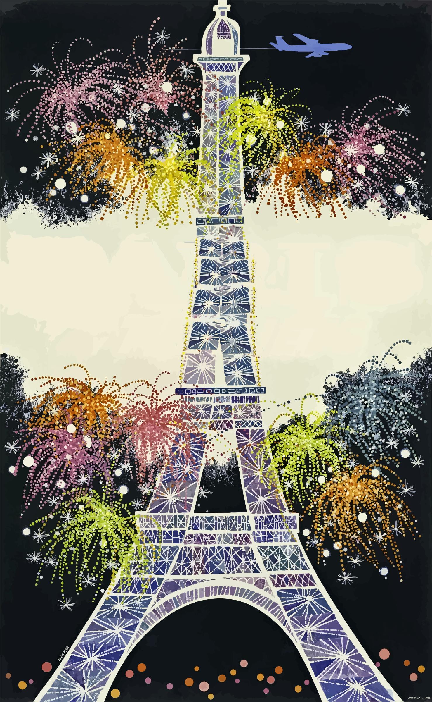 clipart - eiffel tower fireworks