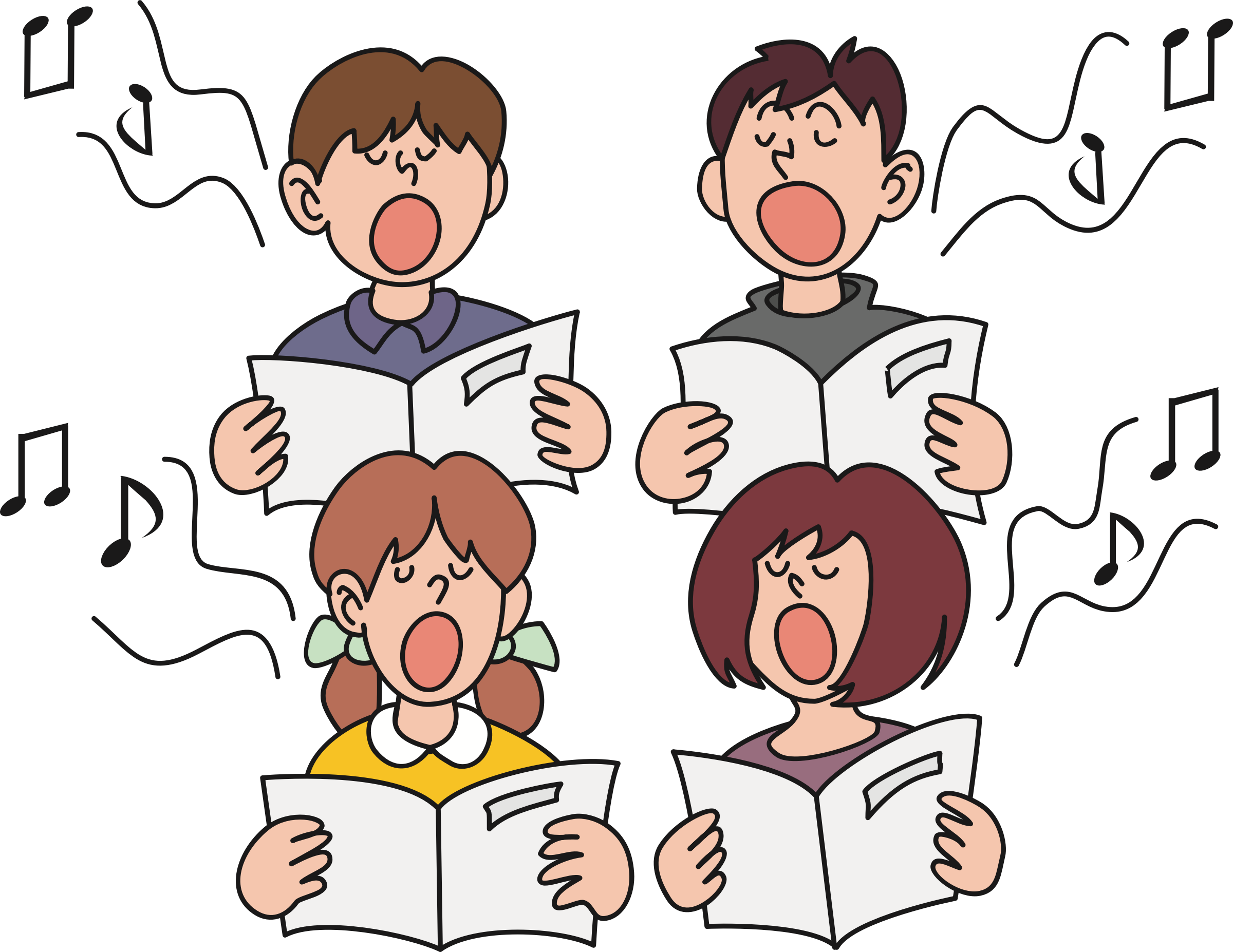 clipart children singing 2