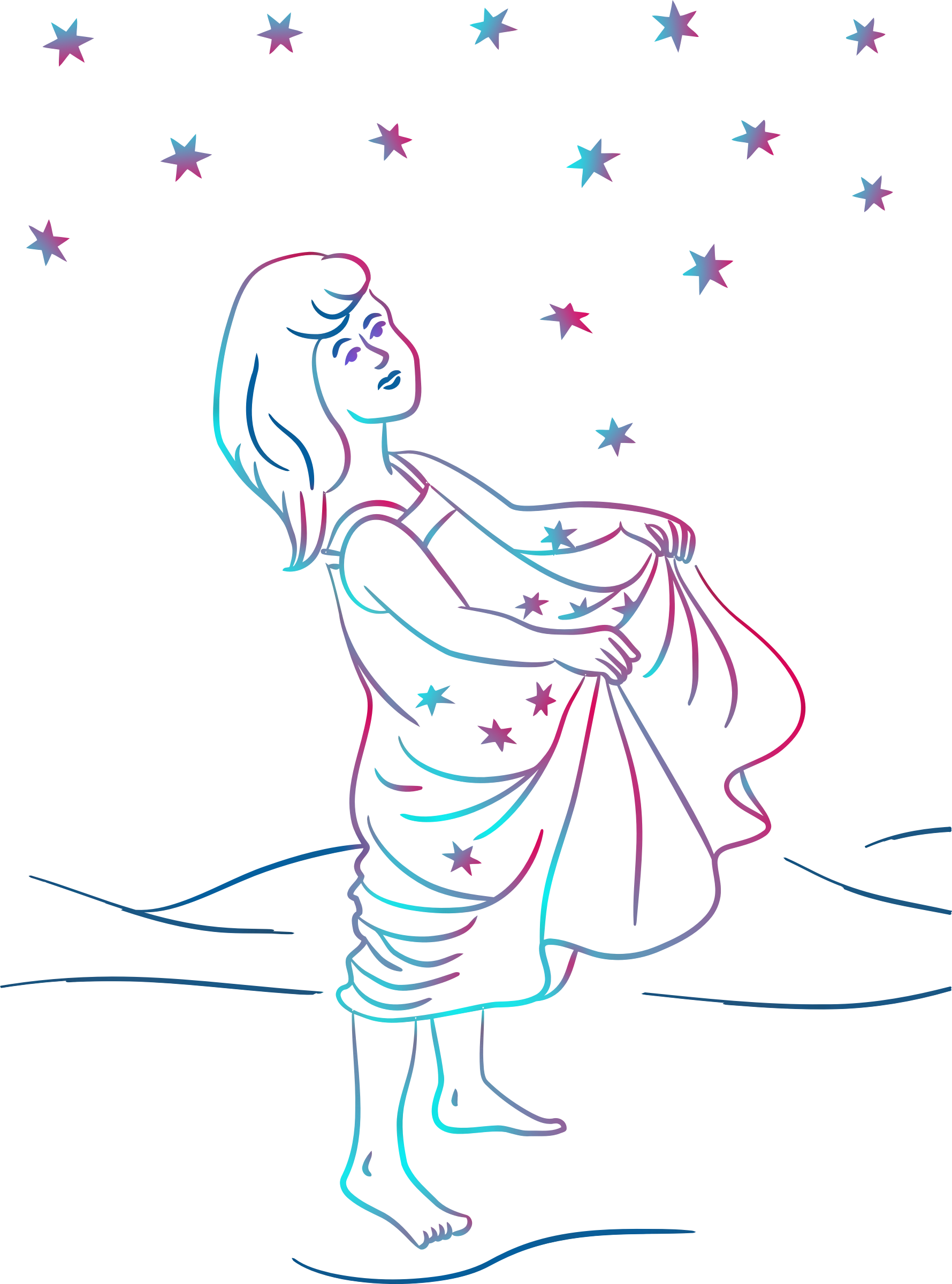 Girl catching stars (colour) by Firkin