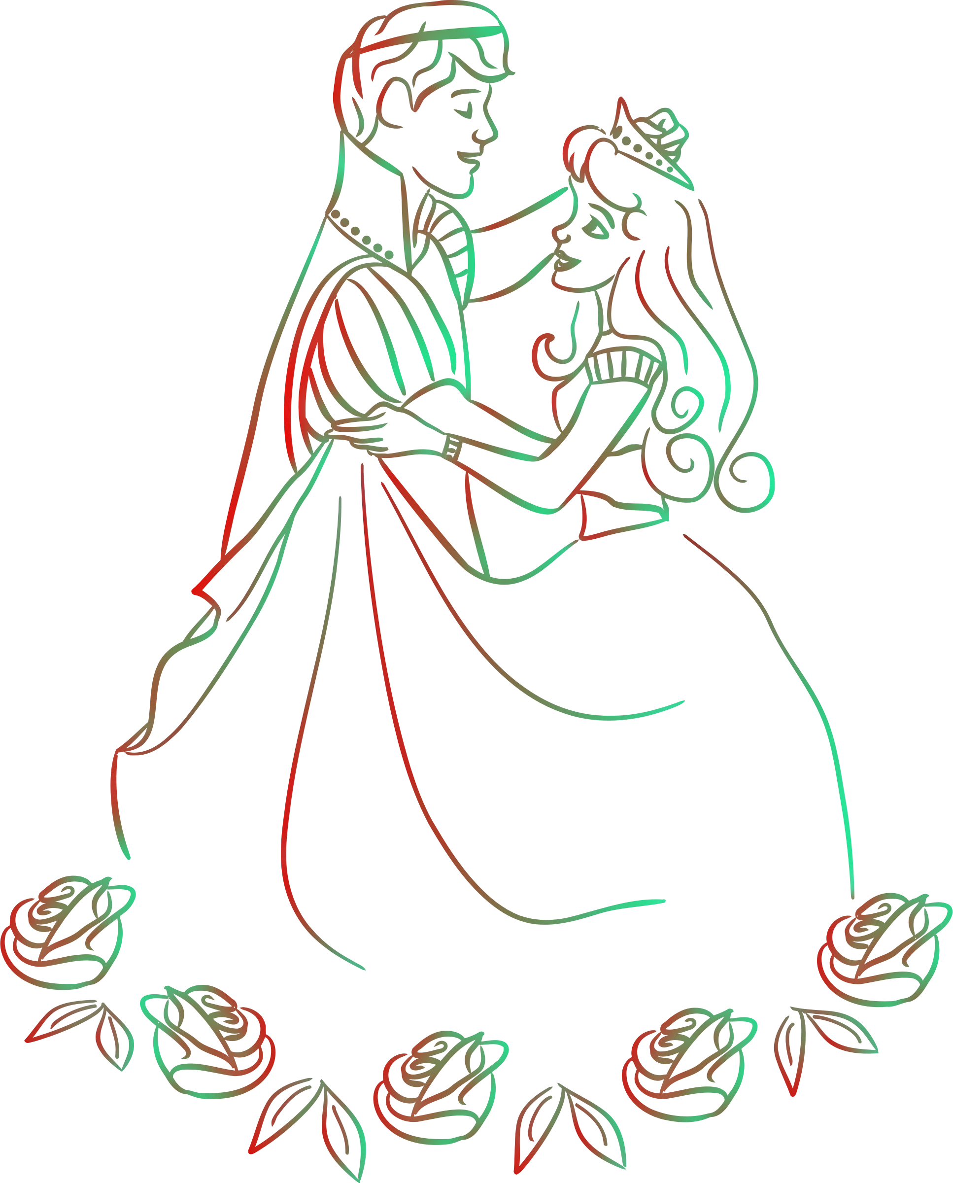 Prince and princess dancing (colour 2) by Firkin