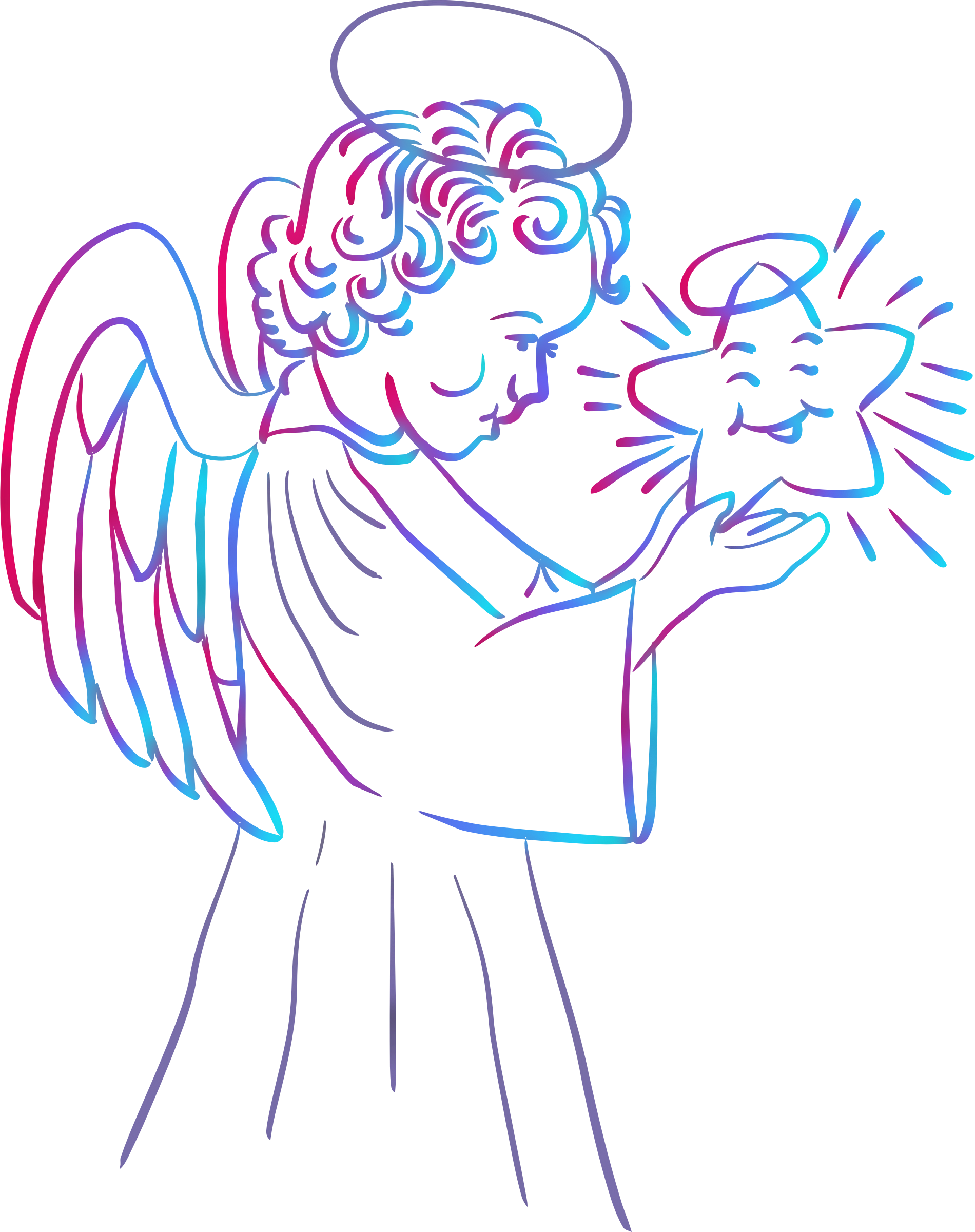 Angel with star (colour) by Firkin