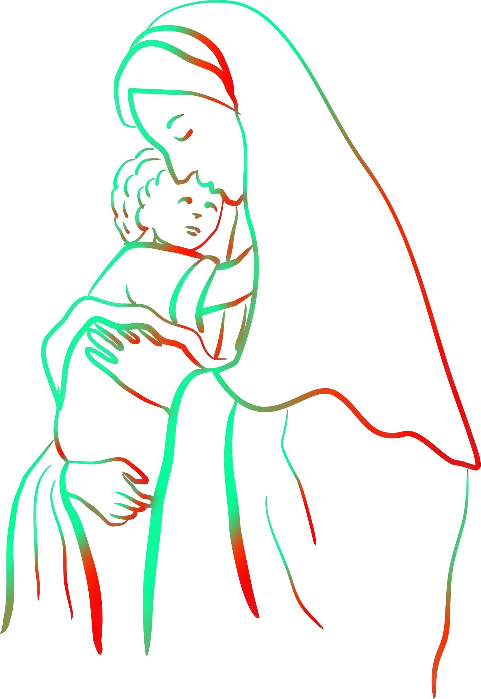 Mary with Jesus (colour 2) by Firkin