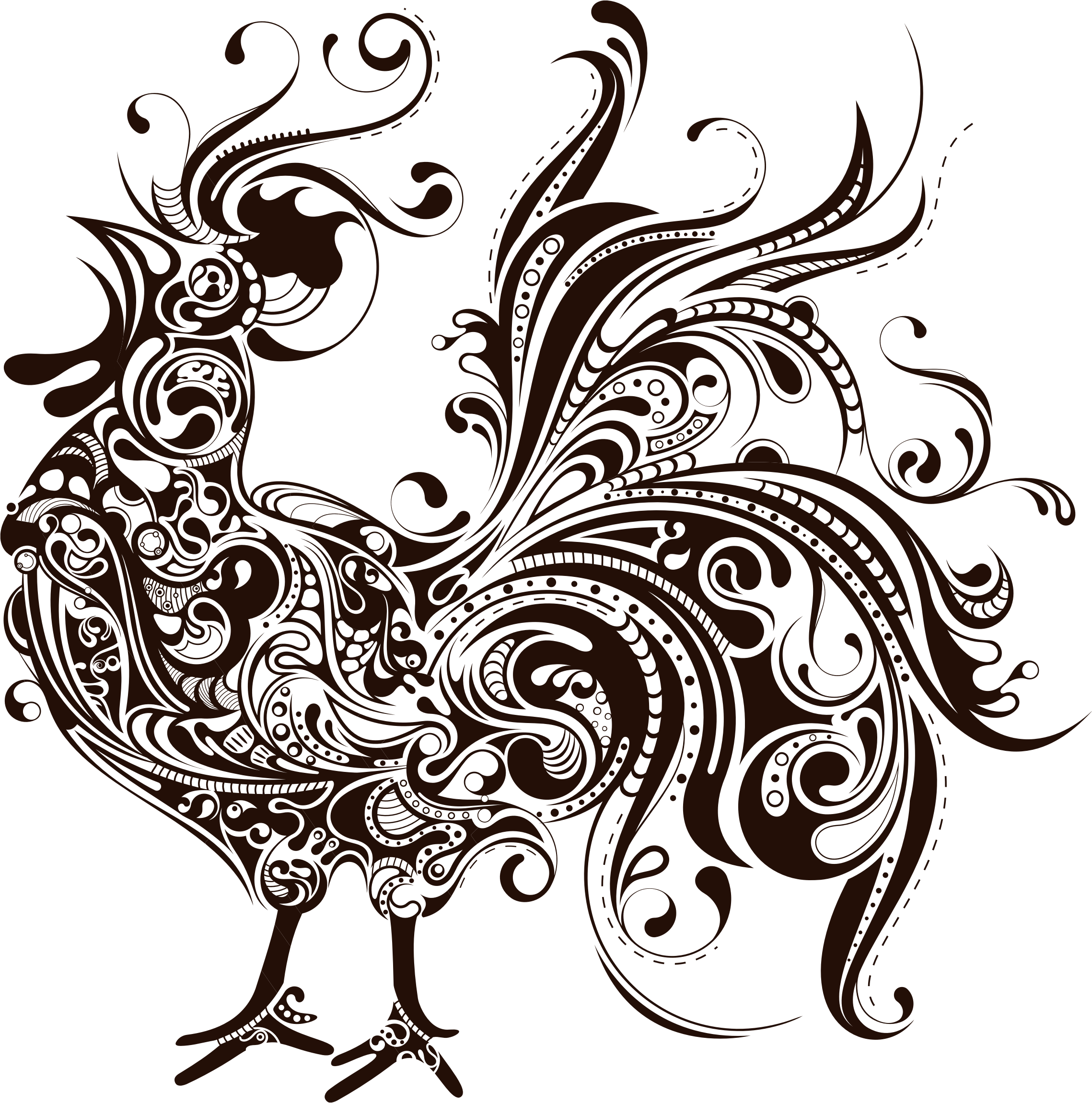 Abstract Rooster Silhouette by GDJ
