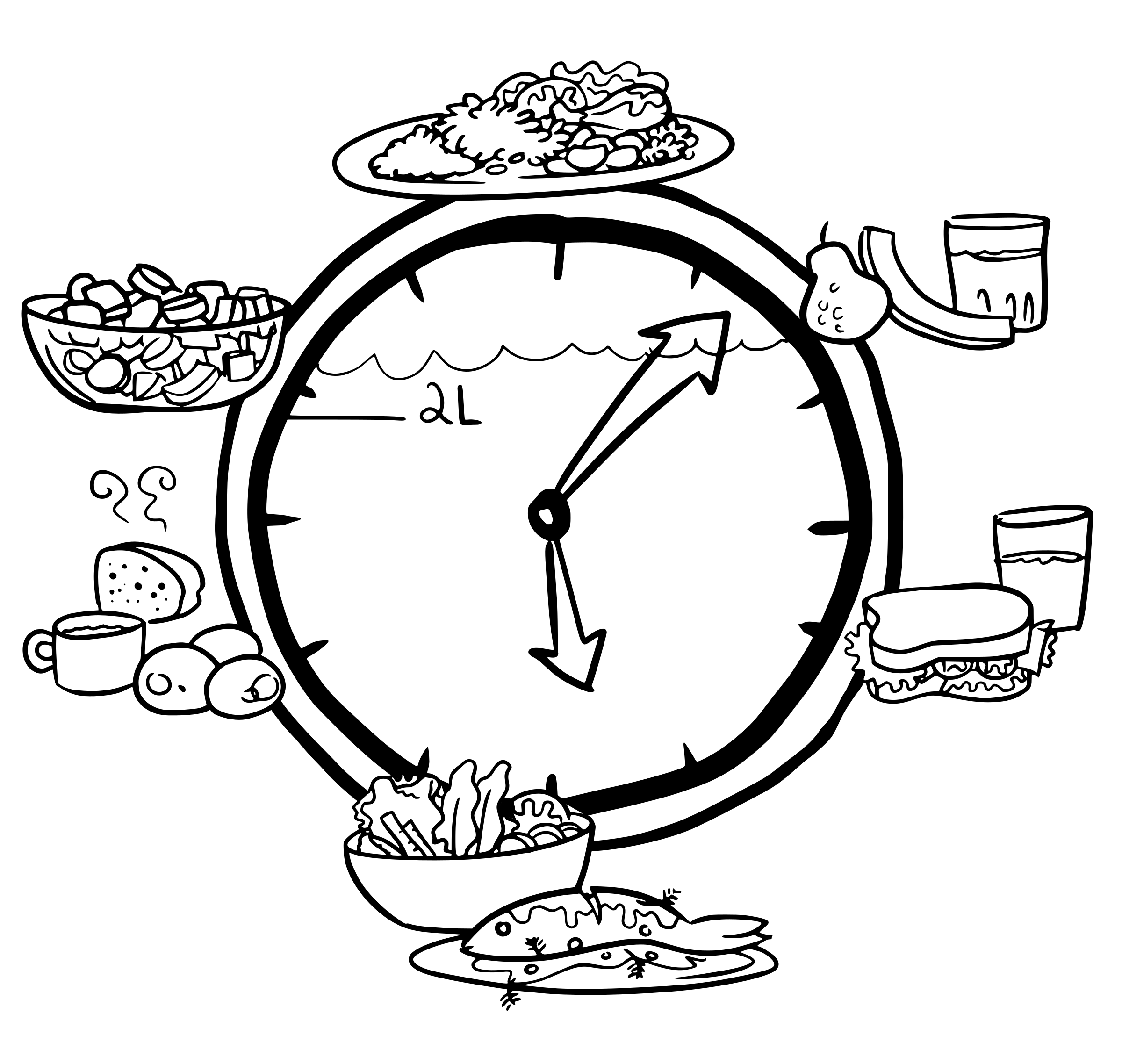 Food Clock - No Colour by j4p4n