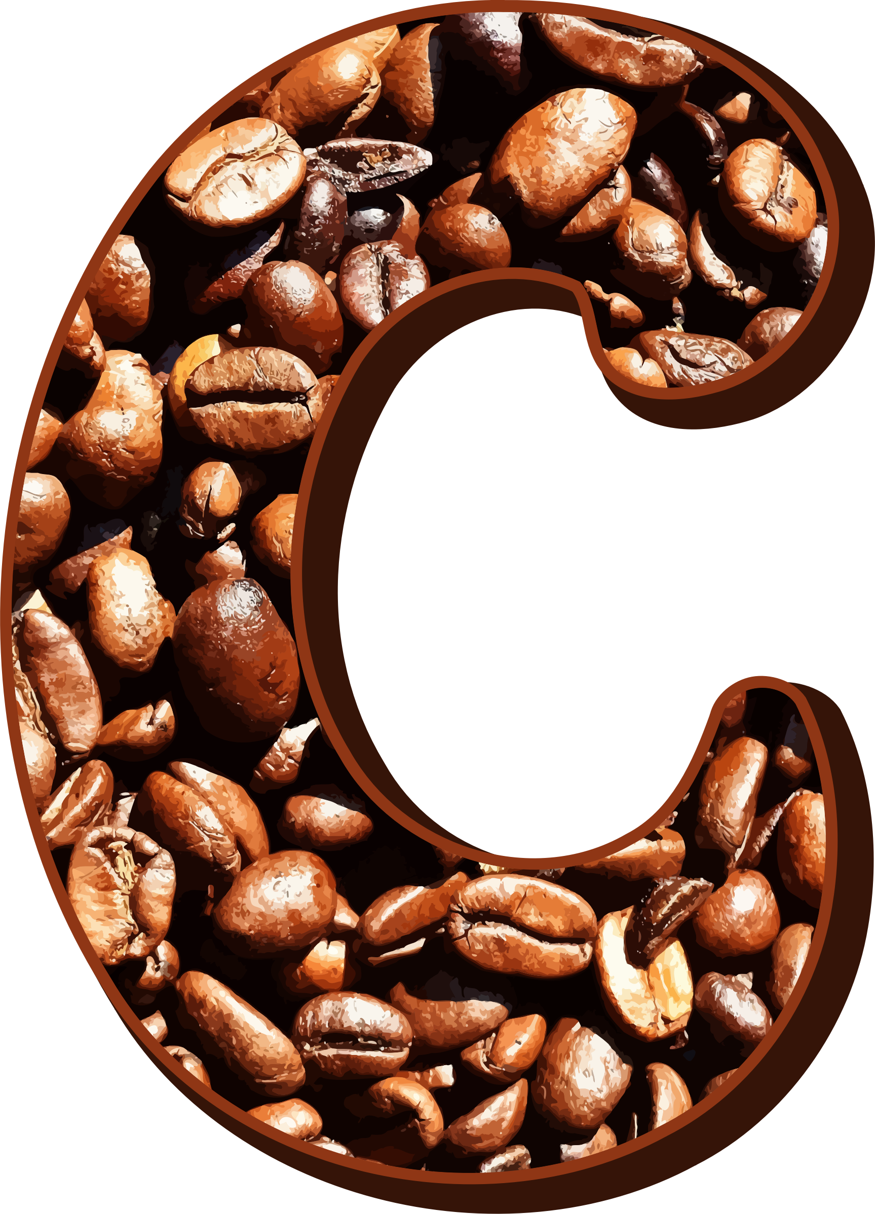 Coffee beans typography C by Firkin