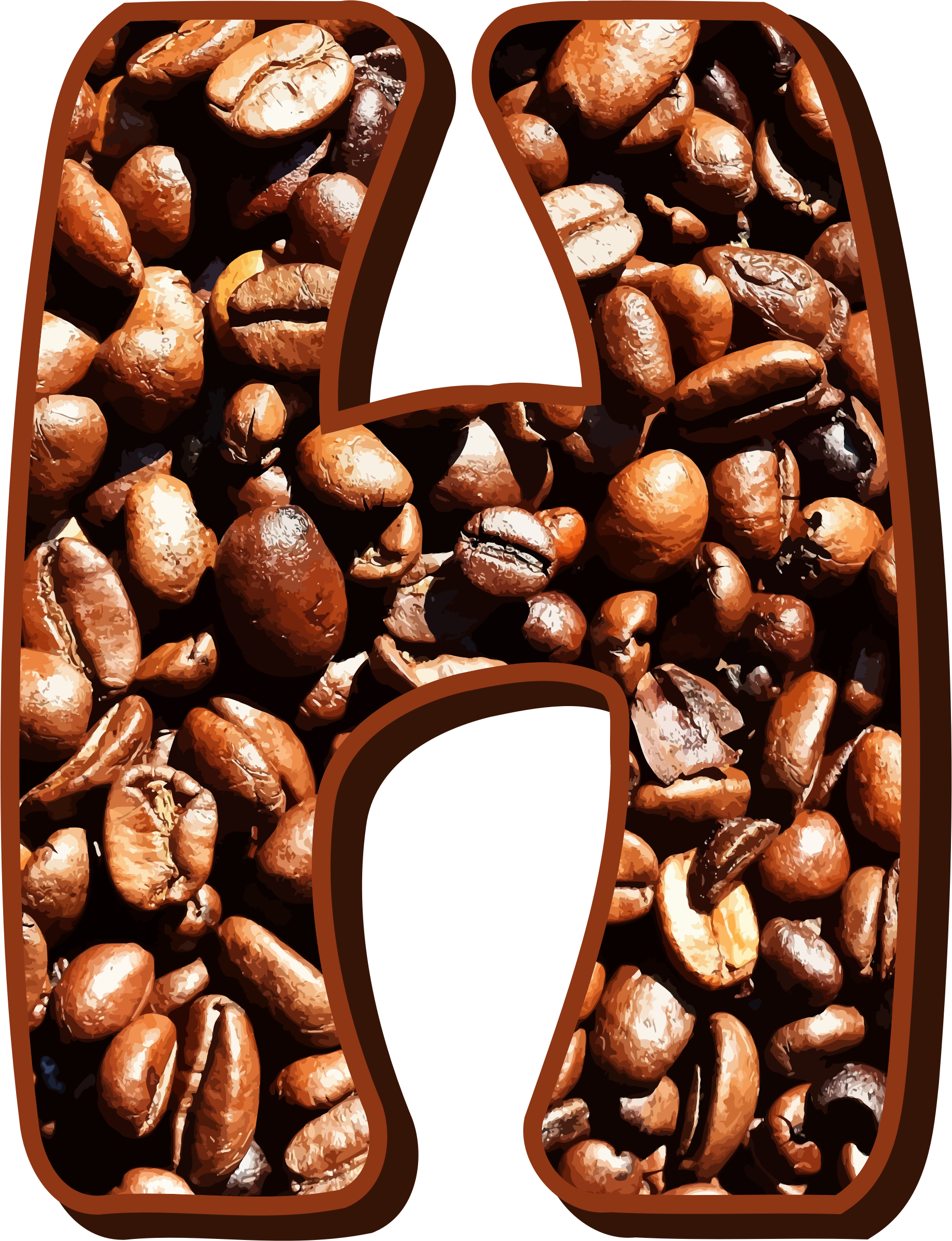 Coffee beans typography H by Firkin