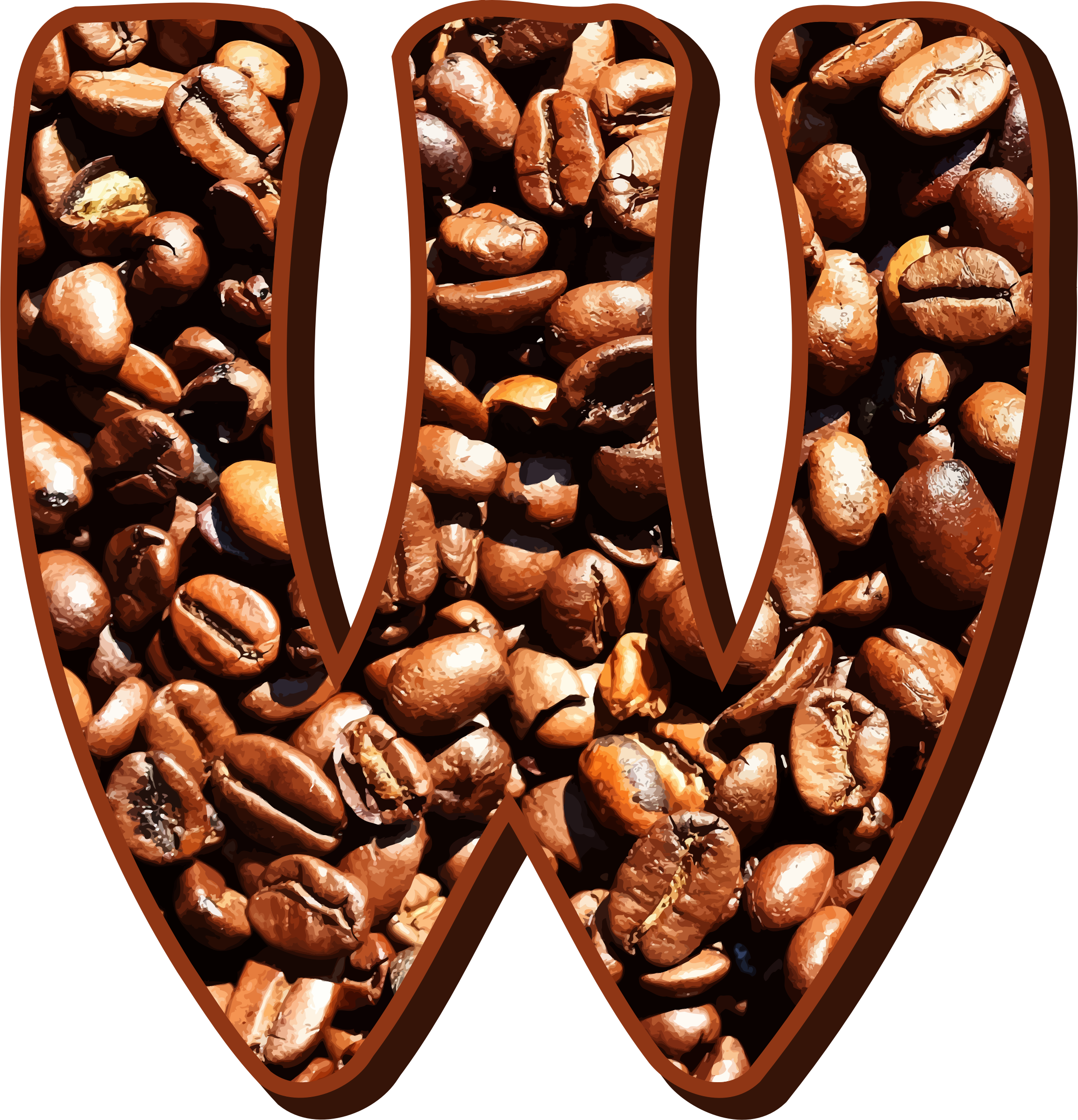 Coffee beans typography W by Firkin