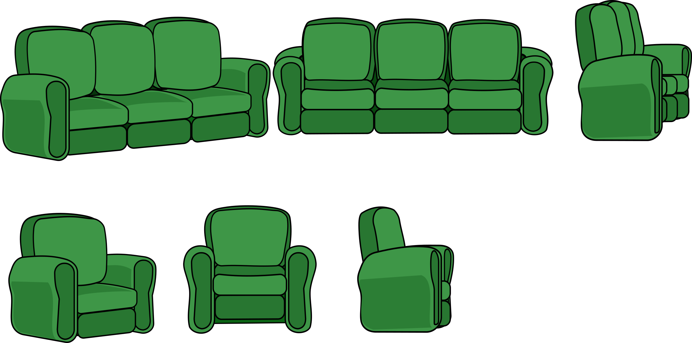 Sofa and Chair (3 views) by VexStrips