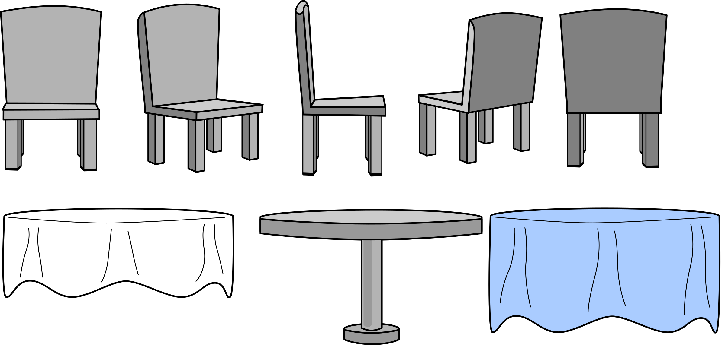 Kitchen Table and Chairs with Table Cloth by VexStrips