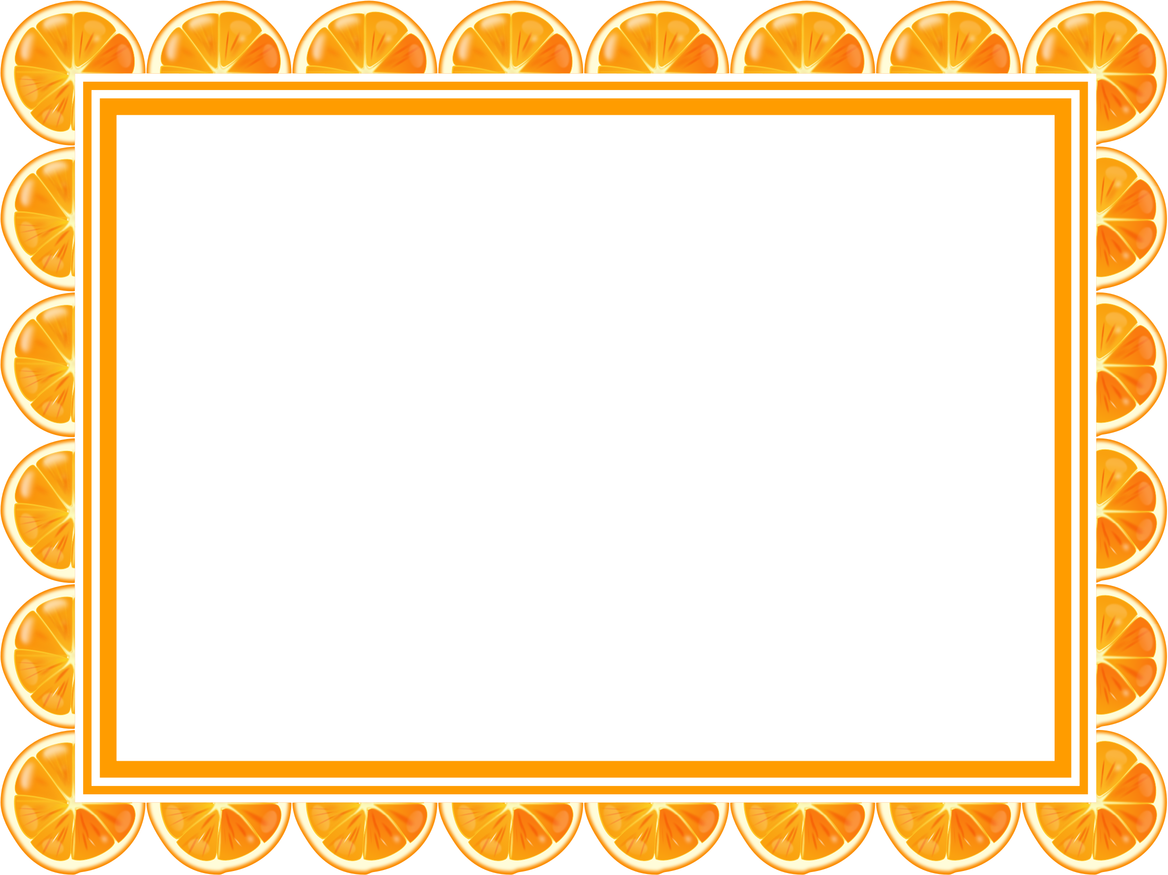 Clipart - Orange slice frame