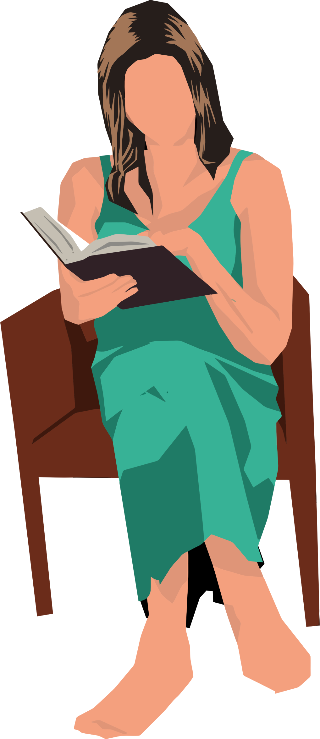 Woman Sitting In Chair Reading by GDJ
