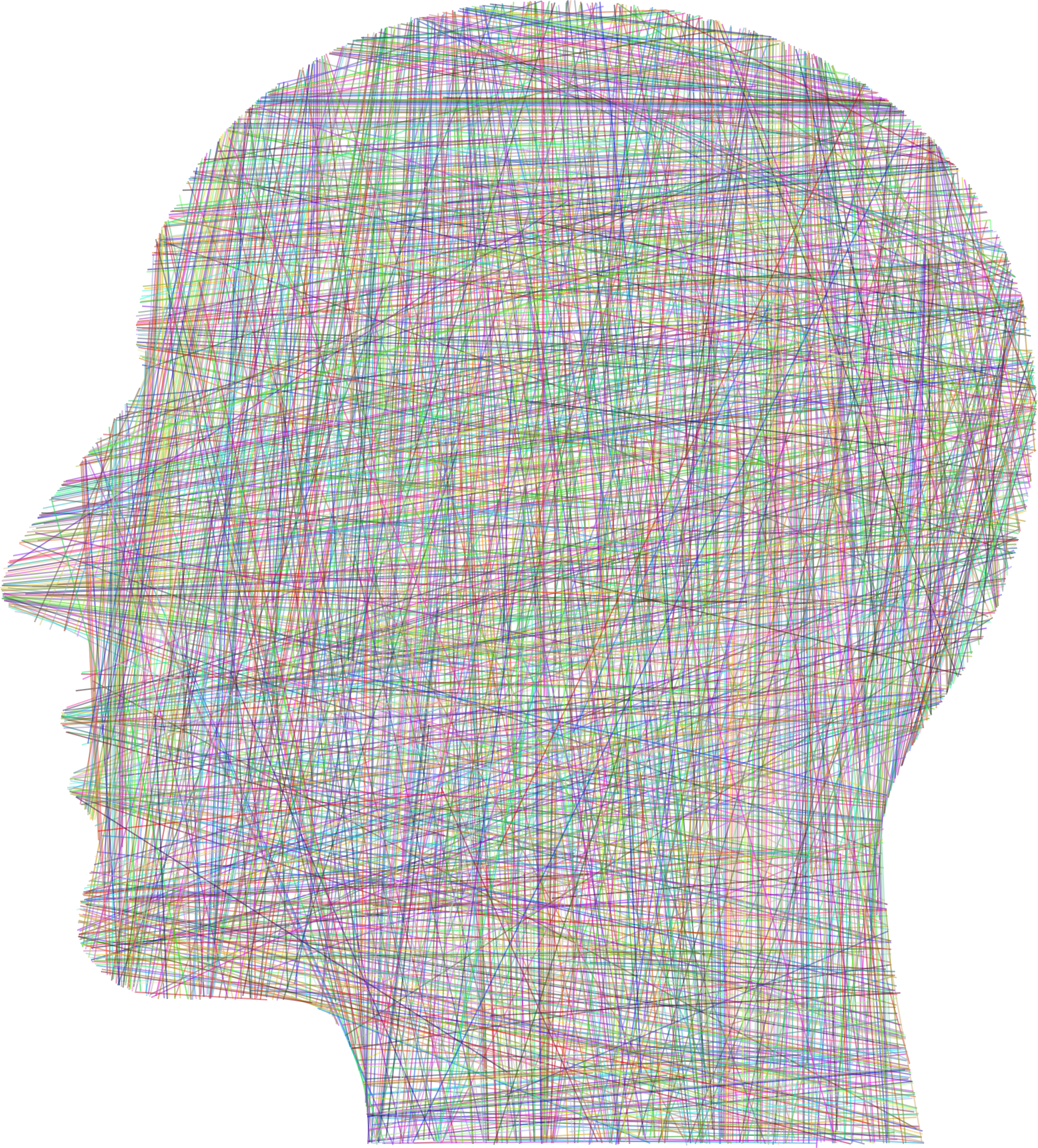 Man Head Silhouette Geometric Lines Prismatic by GDJ