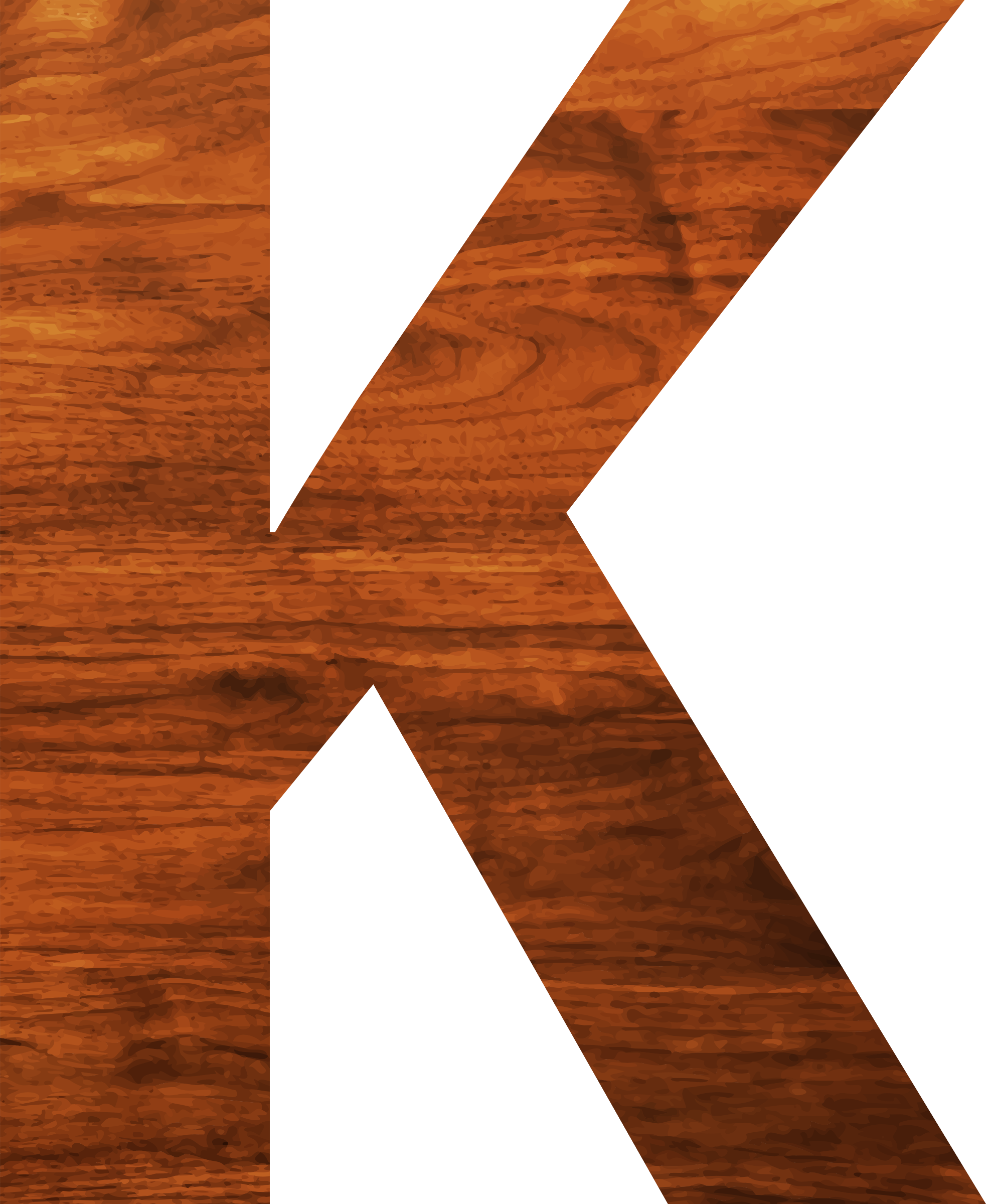 Wood texture alphabet K by Firkin