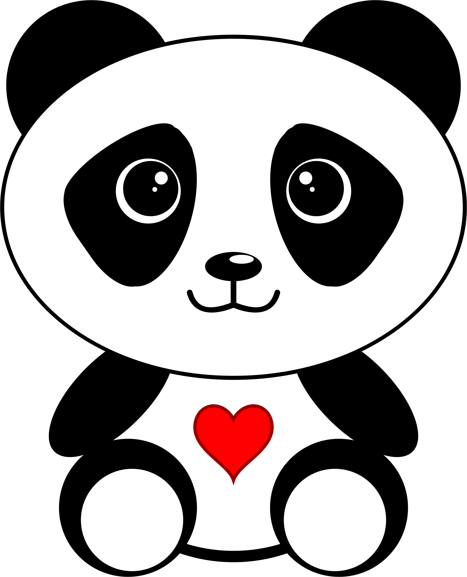 clipart panda with a heart black and white flower clip art free black and white flower clipart free to use