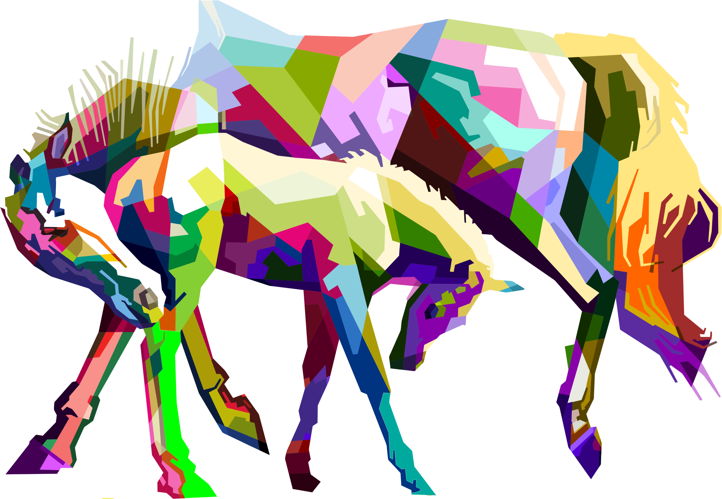 Prismatic Geometric Mother And Child Horses by GDJ