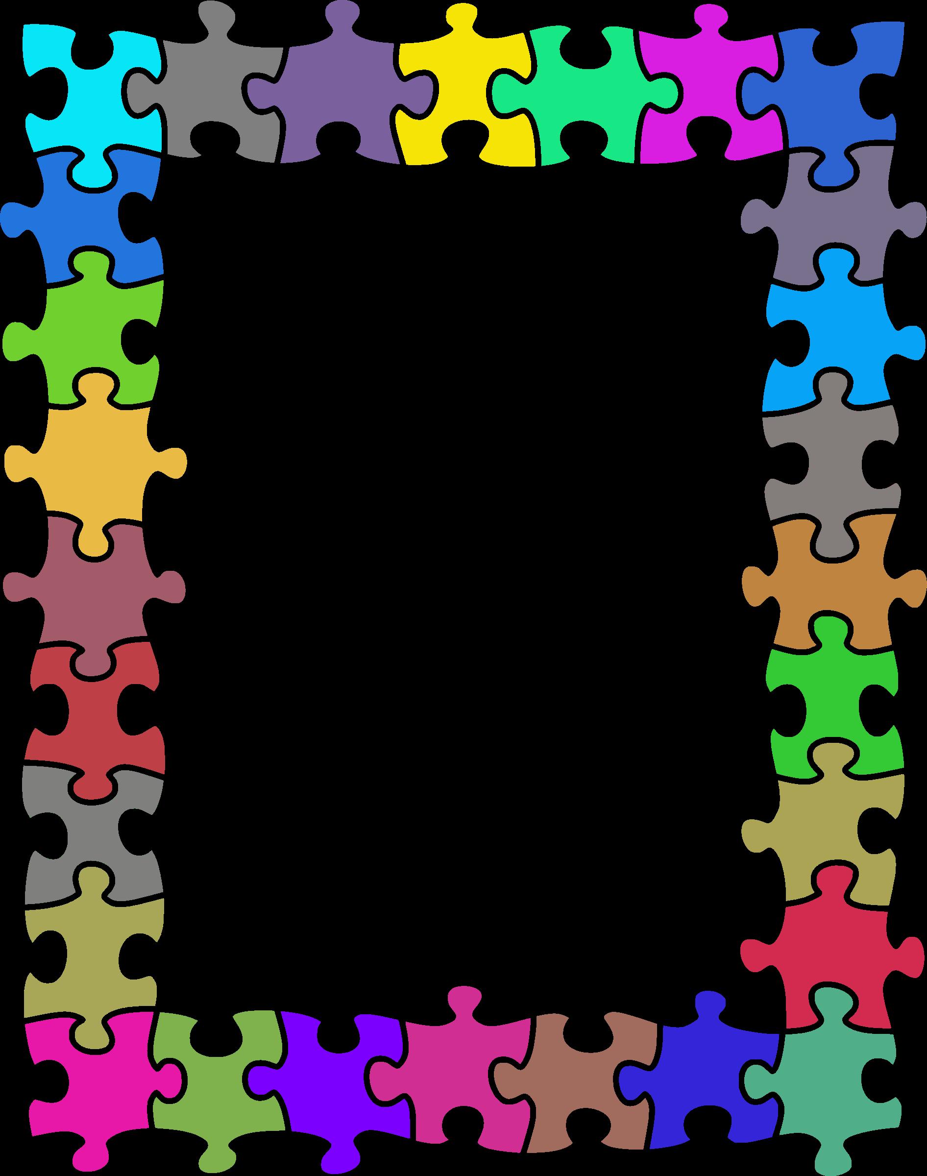 Clipart - Jigsaw puzzle frame (random colours)