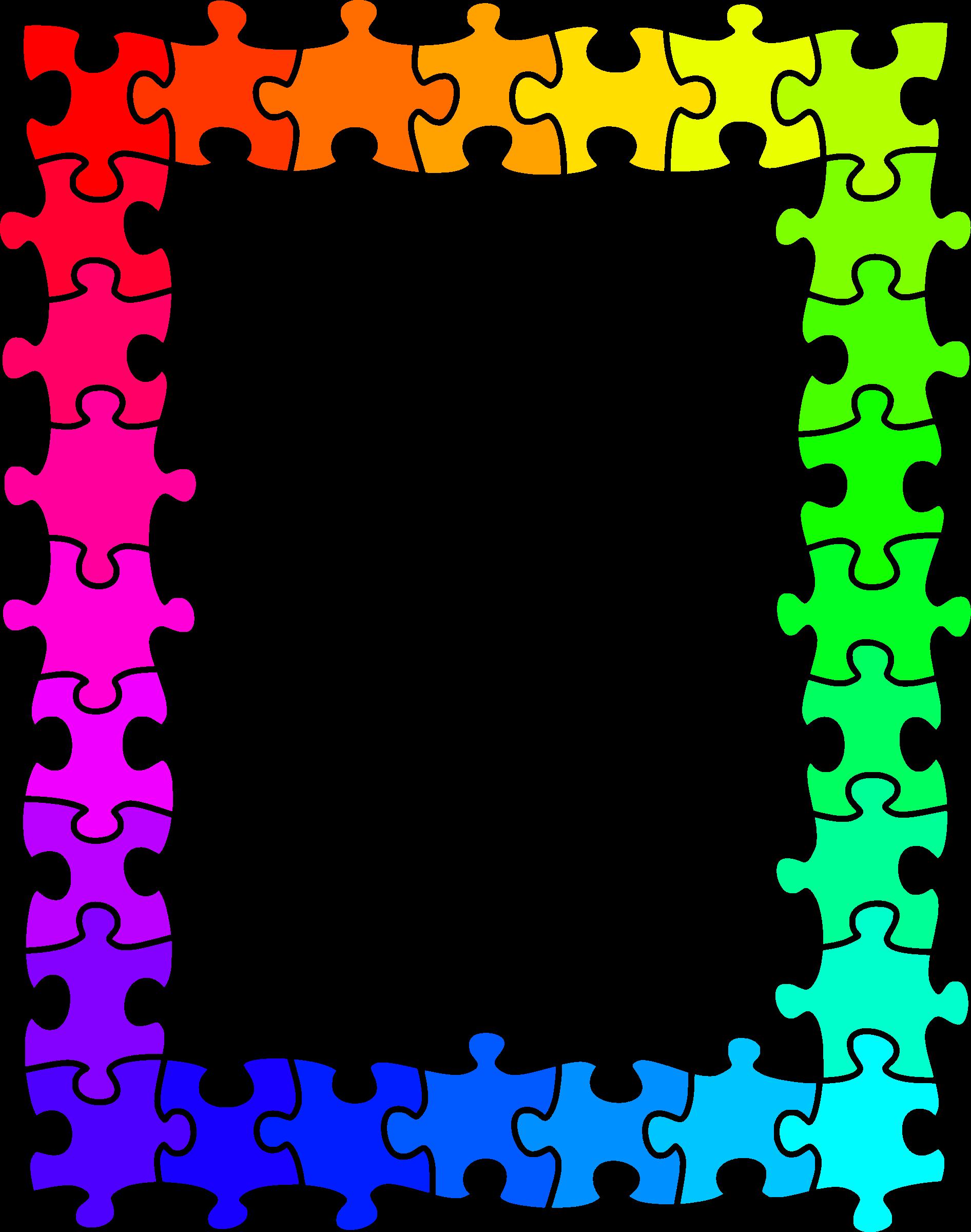 Clipart - Jigsaw frame (rainbow colours)