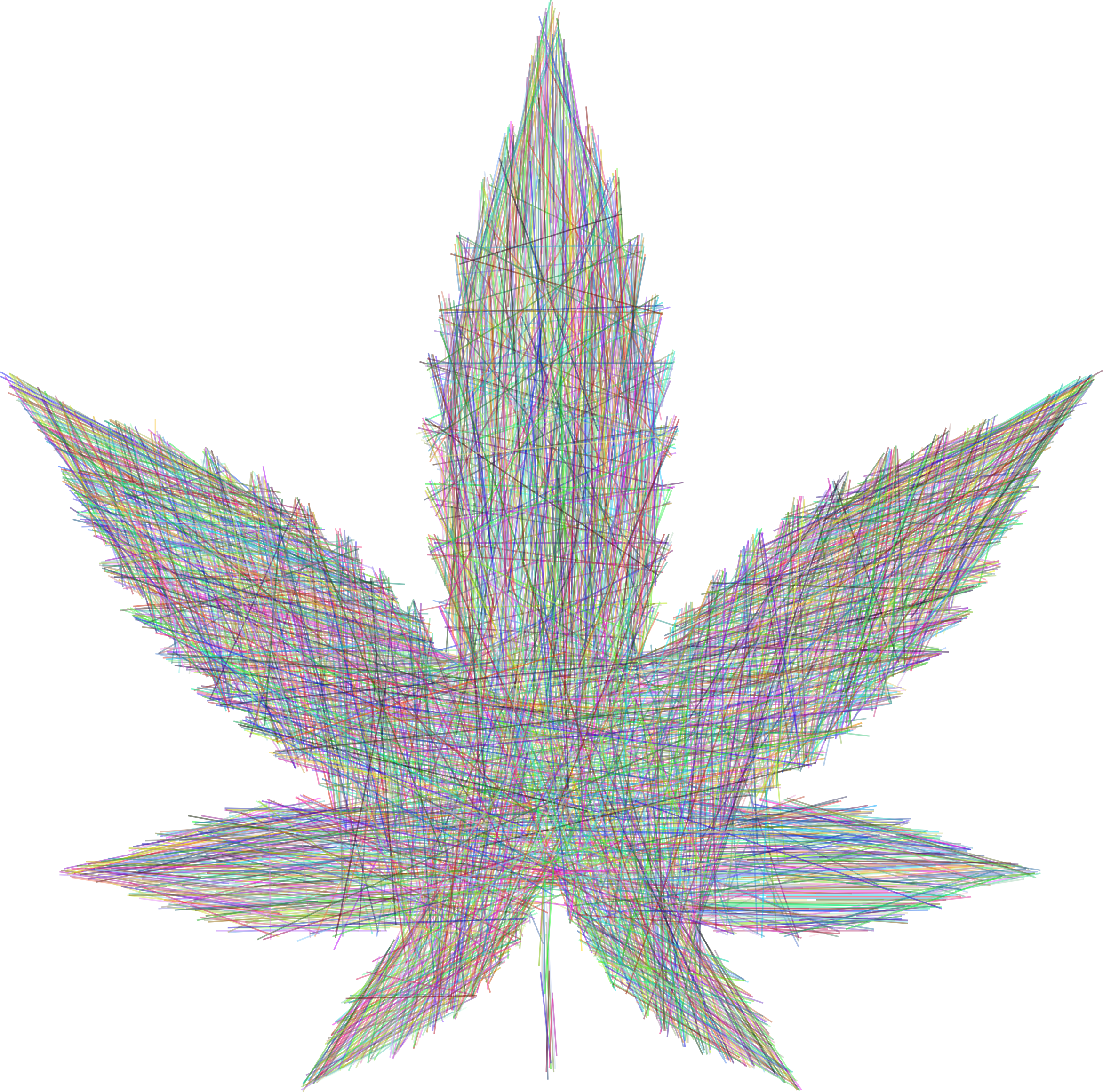 Marijuana Leaf Lines Prismatic by GDJ
