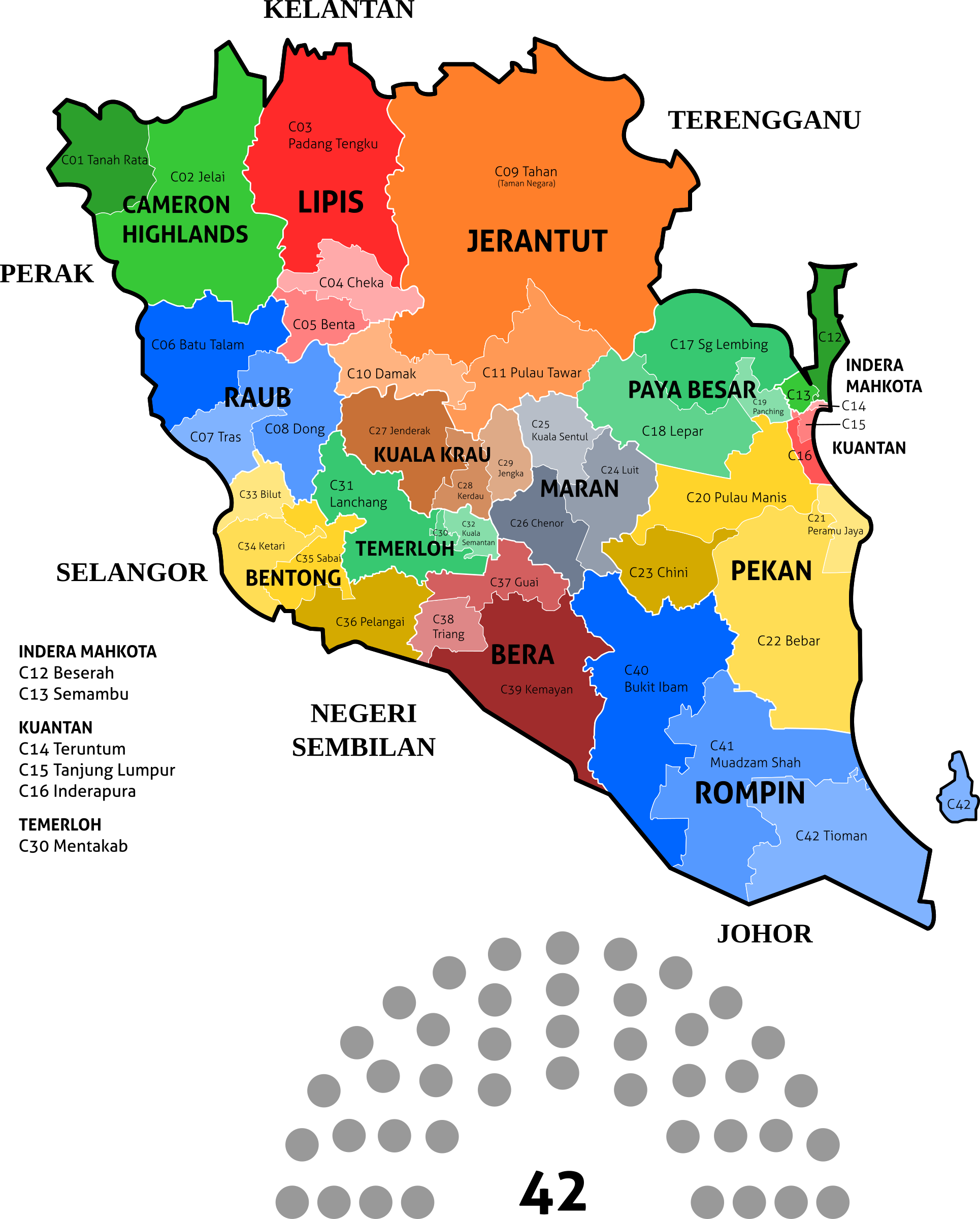 Pahang State Legislative Assembly Constituencies - 2018 by derkommander0916