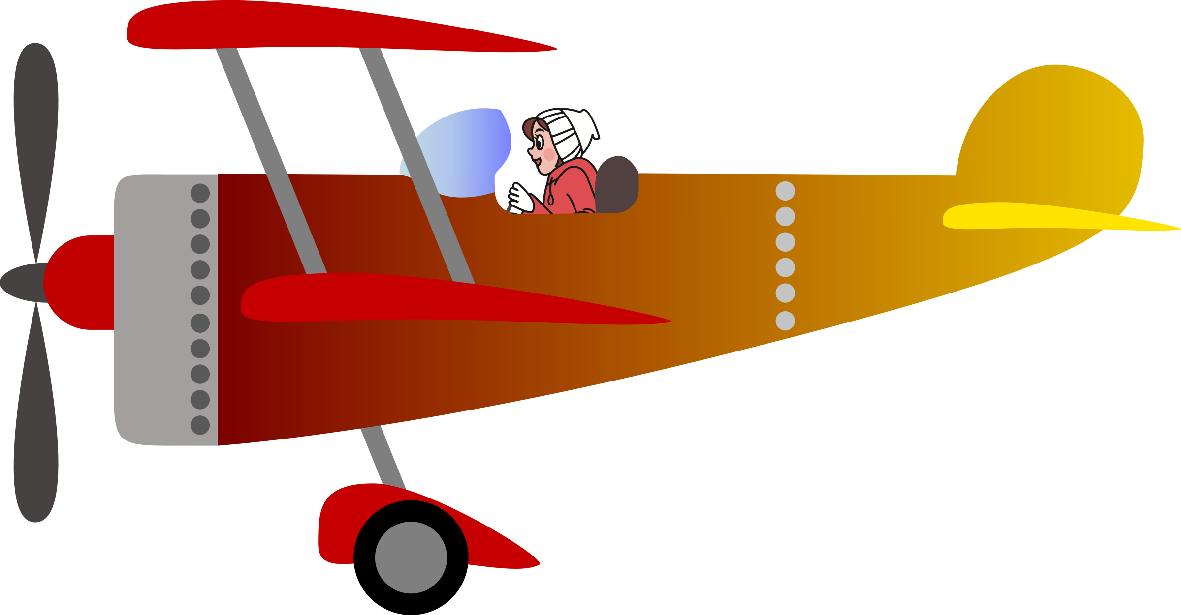 Biplane 2 with a pilot [woman] by Vookimedlo