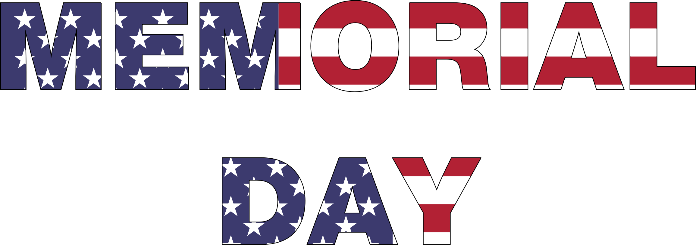 Memorial Day Typography With Strokes by GDJ