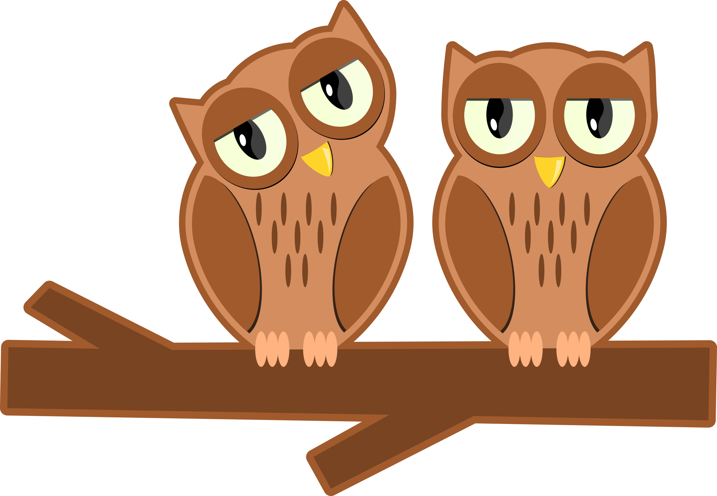 Owls on a branch by klsgfx
