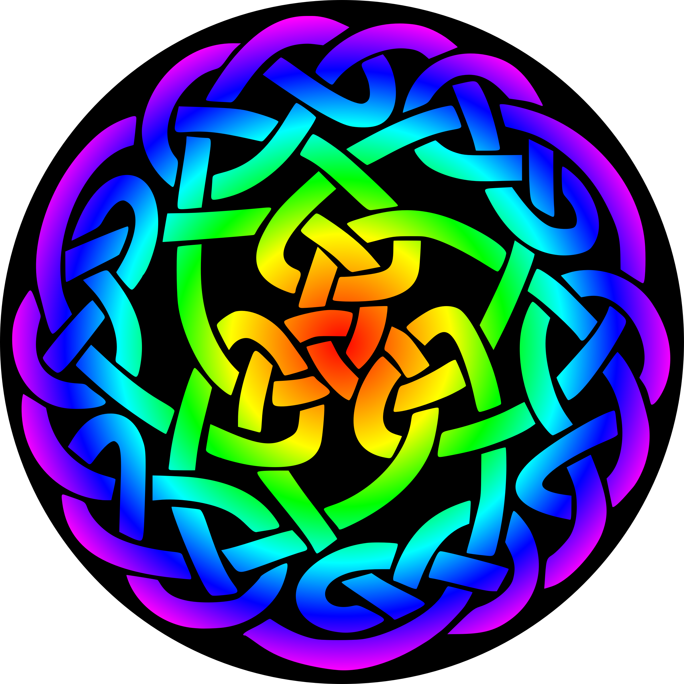Celtic knot 3 (rainbow colours, black background) by Firkin