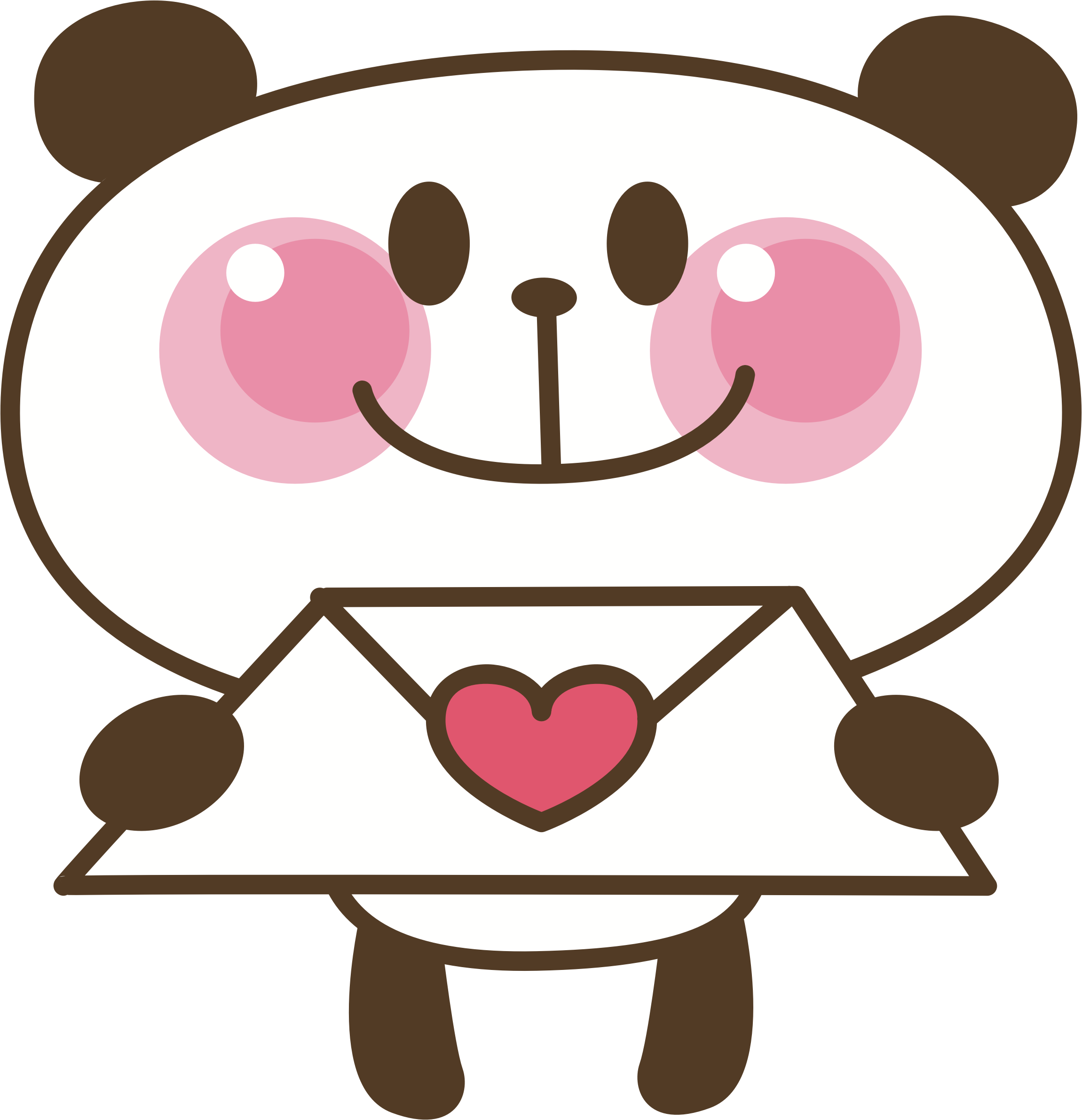 clipart - panda love letter