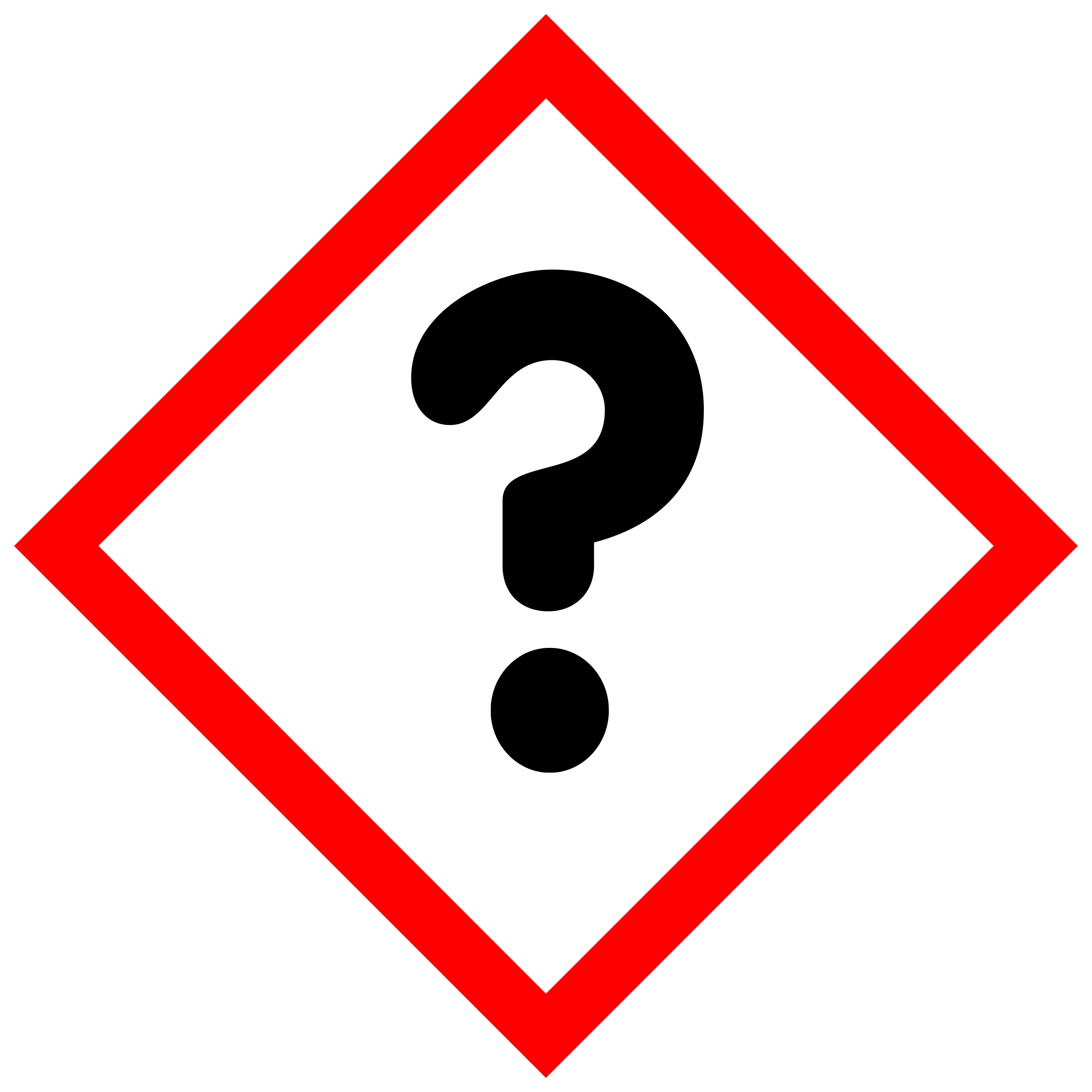 "GHS pictogram for hazardous substances; inofficial pictogram ""Unknown"" by Juhele"