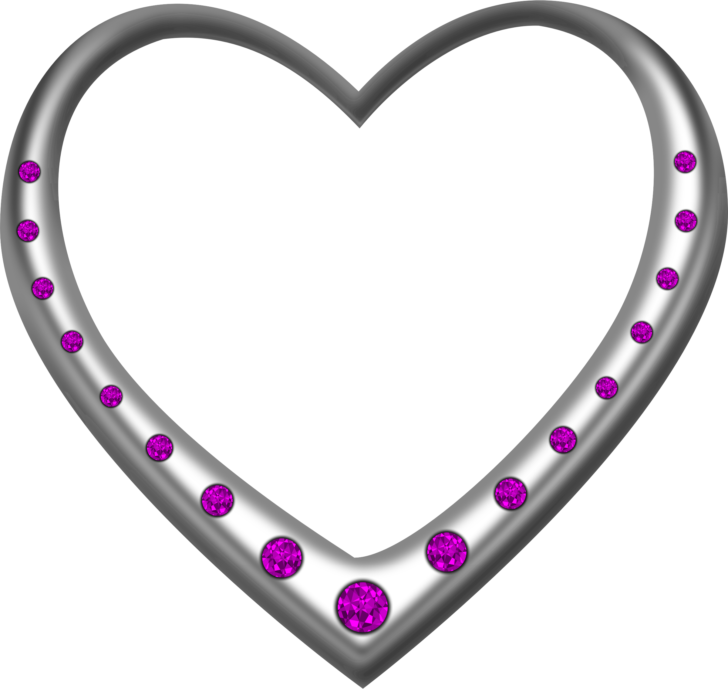 Silver heart studded with amethysts by Firkin