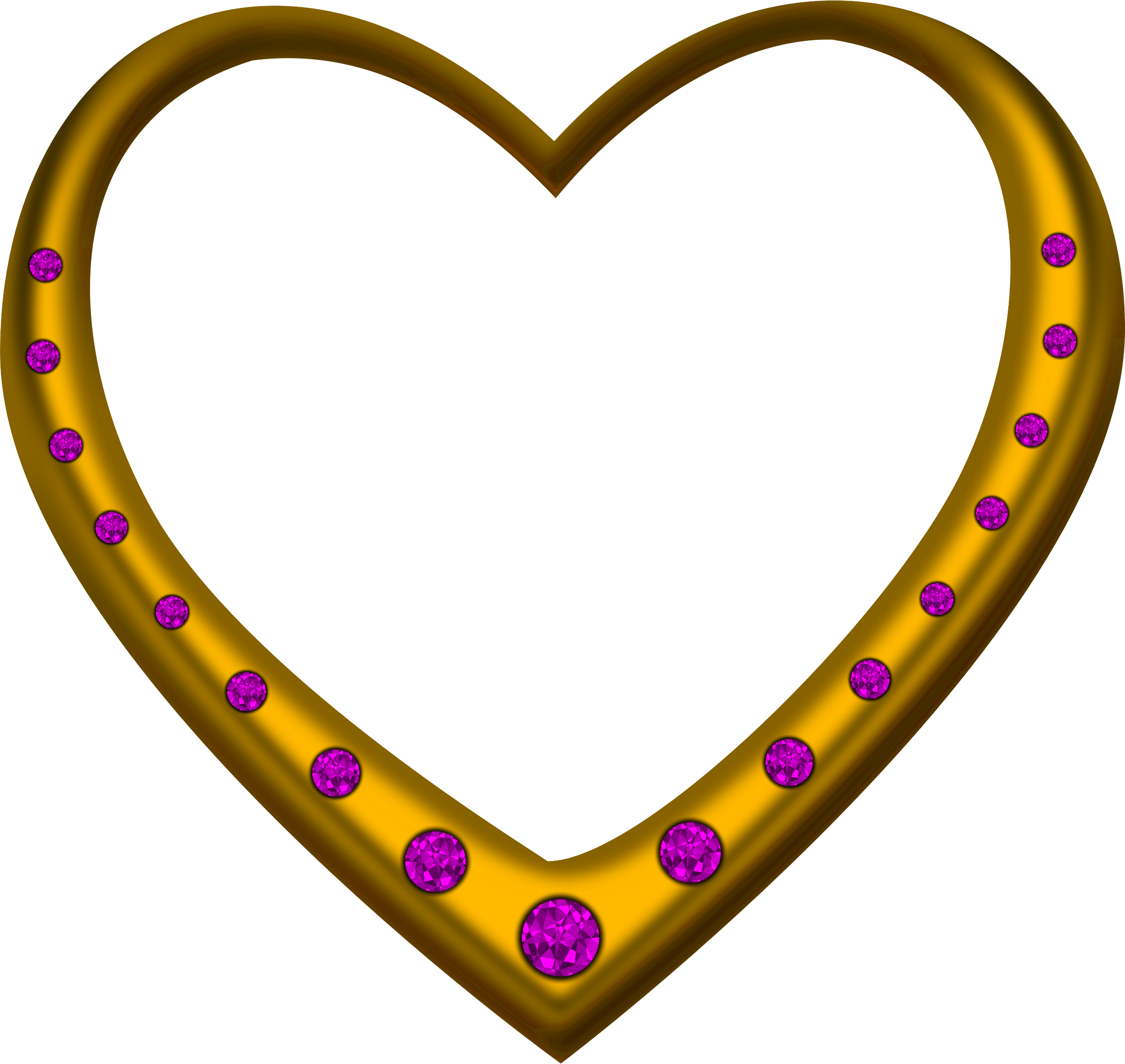 Gold heart studded with amethysts by Firkin