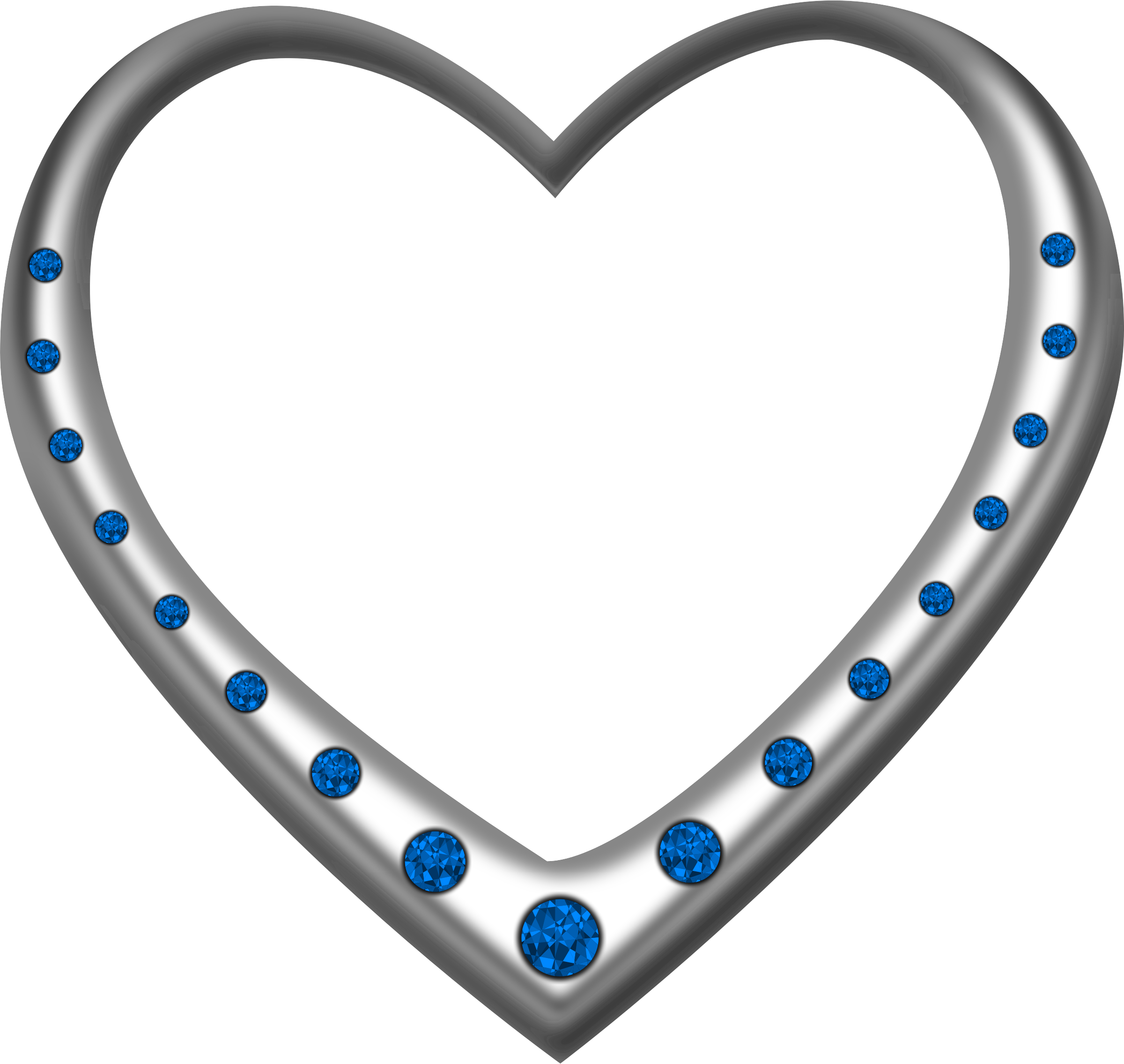 Silver heart studded with sapphires by Firkin