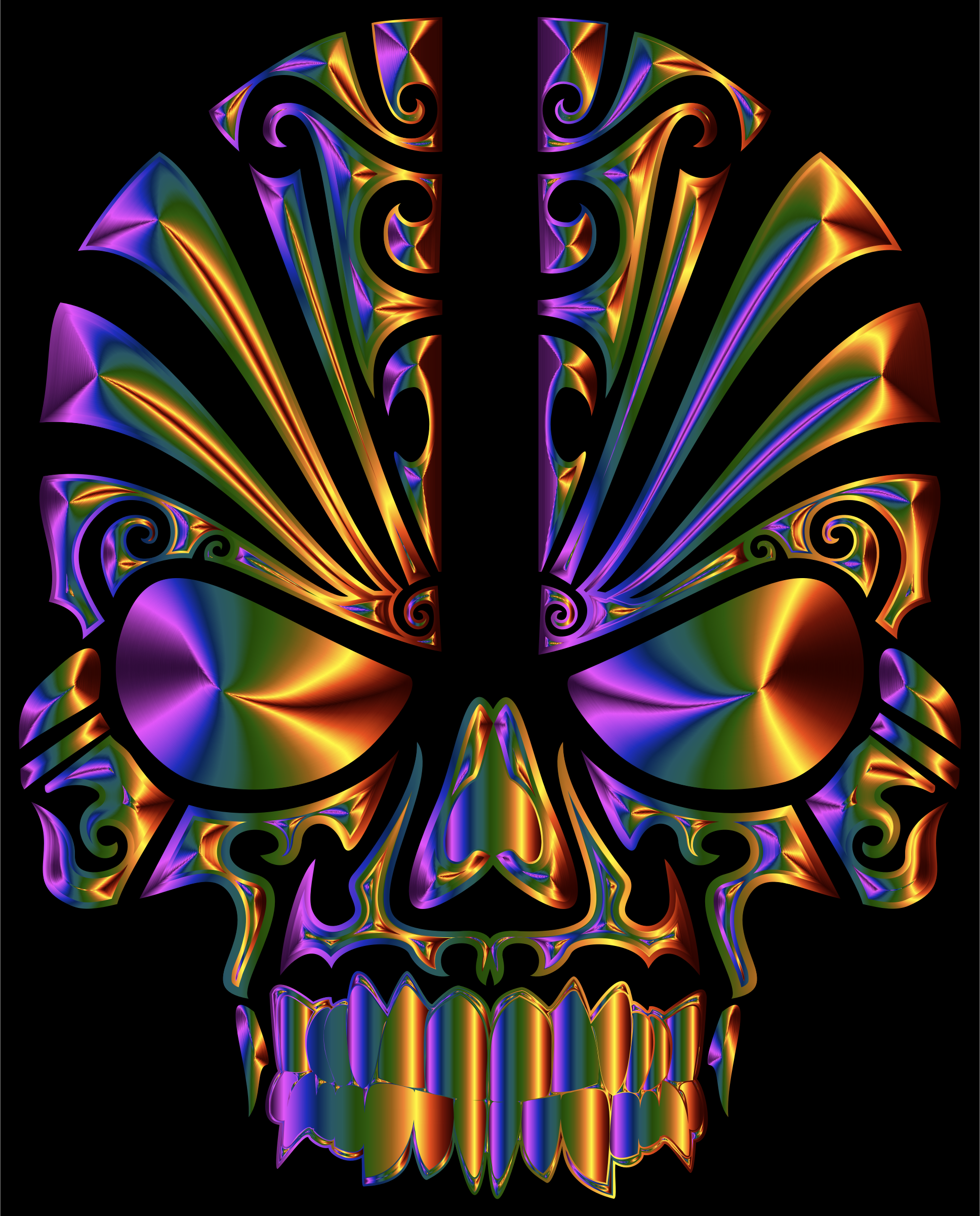 Tribal Skull Silhouette 2 Chromatic by GDJ
