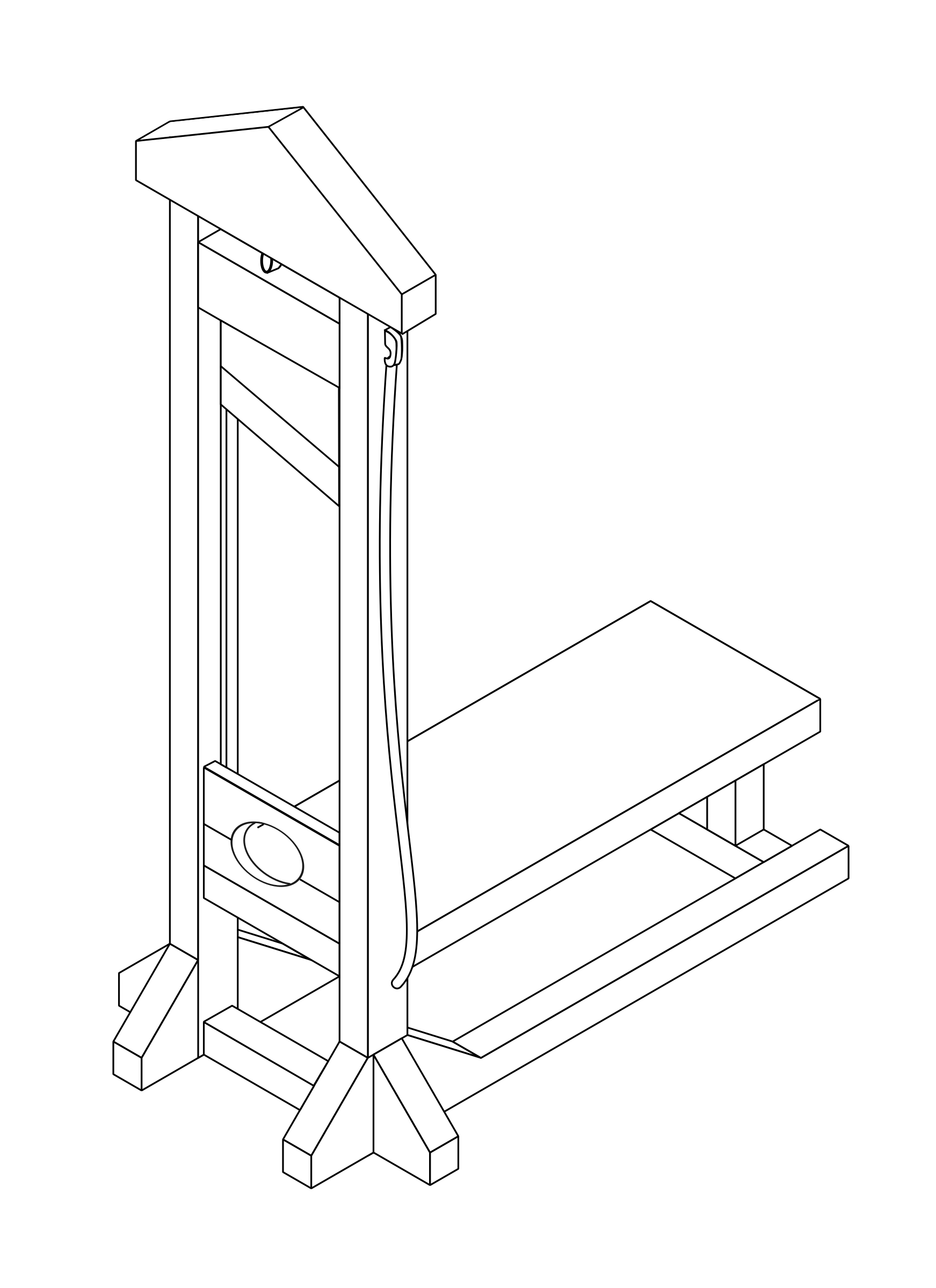 Line isomeric drawing of a guillotine by argumento