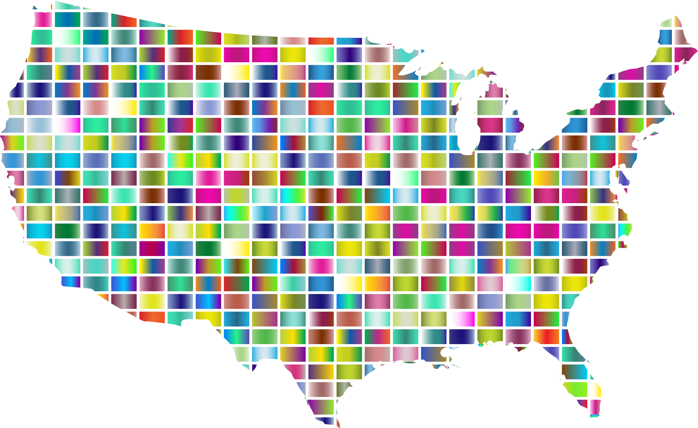 United States Map Grid Design Prismatic 2 by GDJ