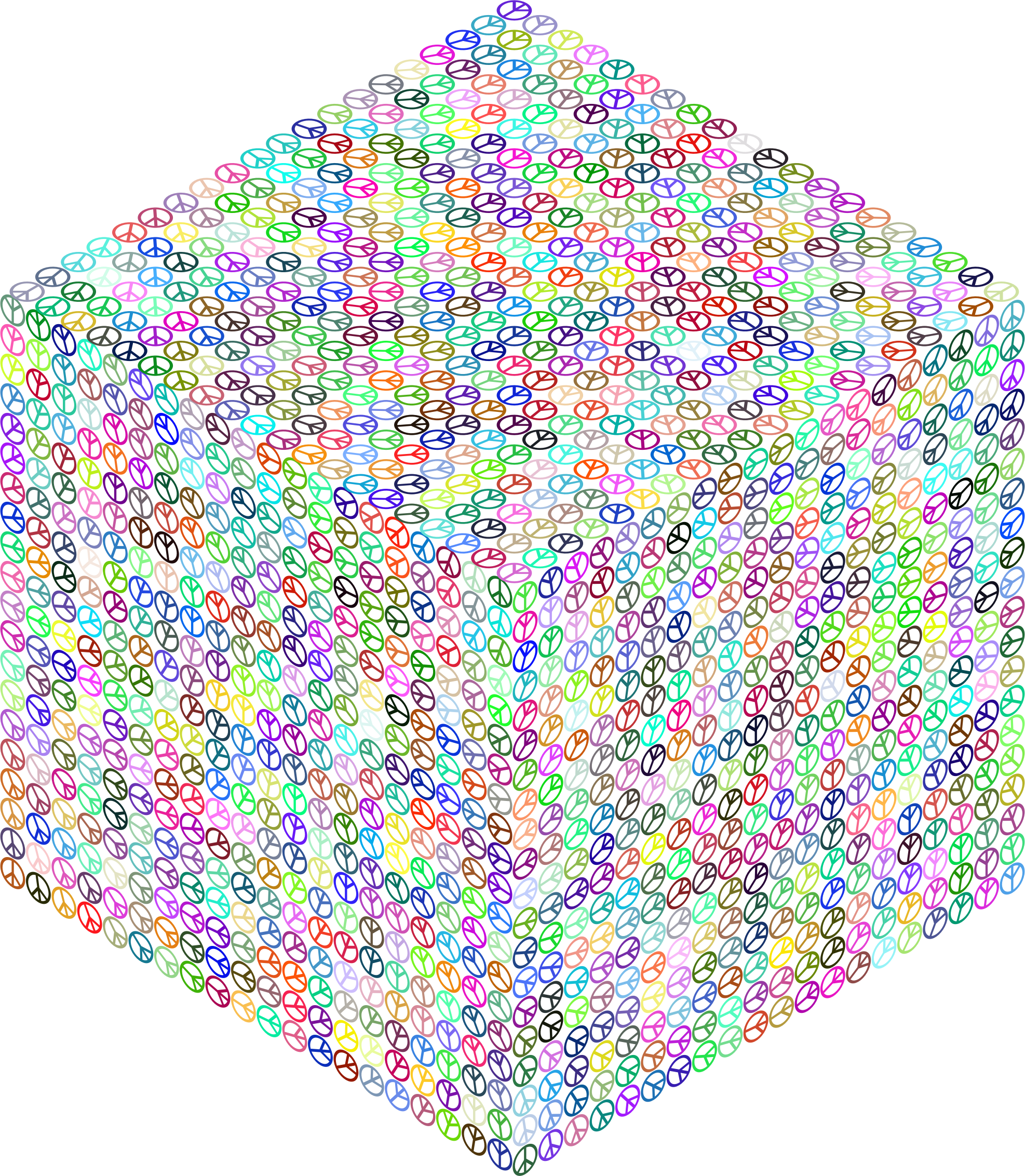 Isometric Peace Cube Prismatic No BG by GDJ