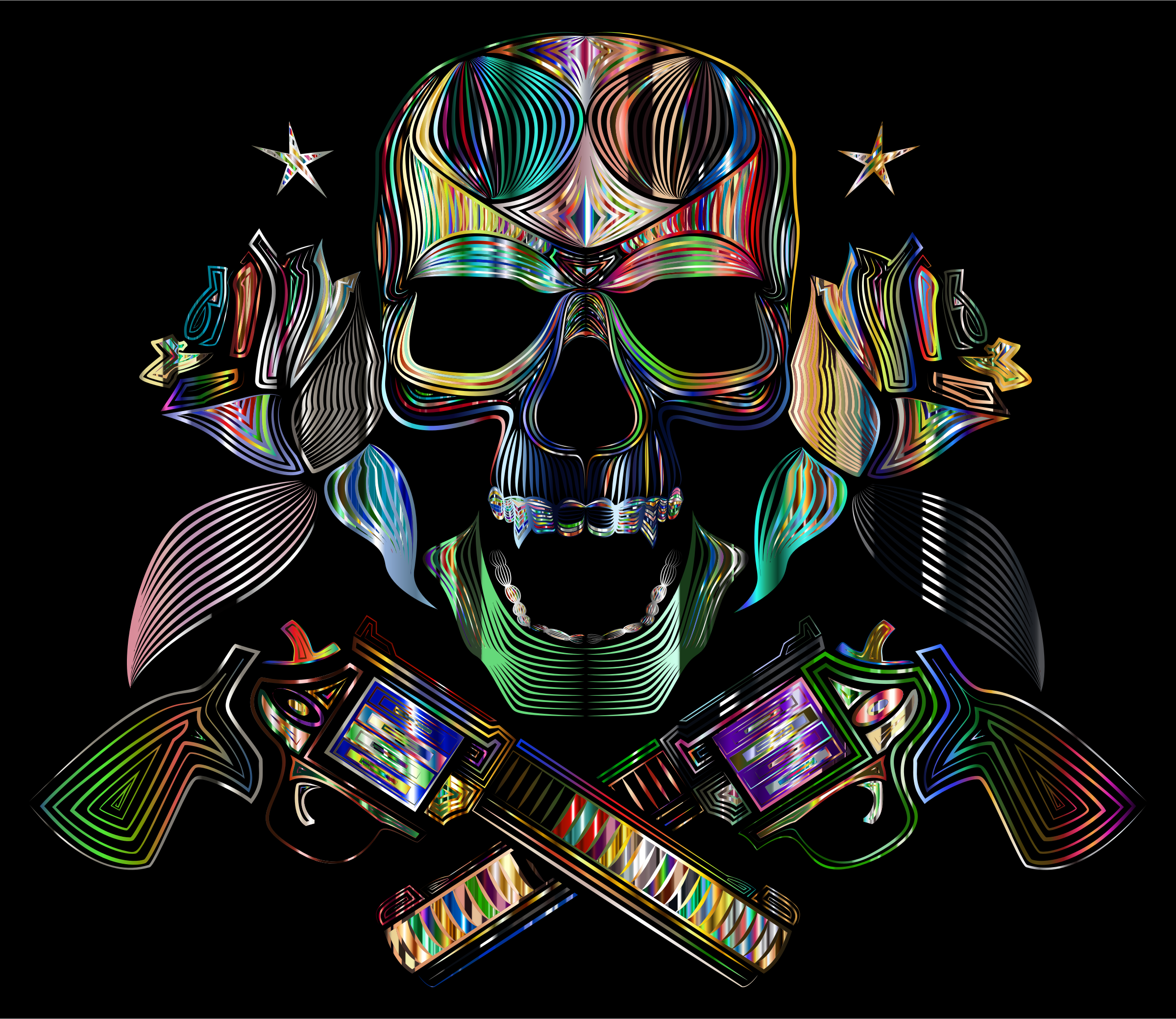 Flowers And Firearms Skull Line Art Psychedelic by GDJ