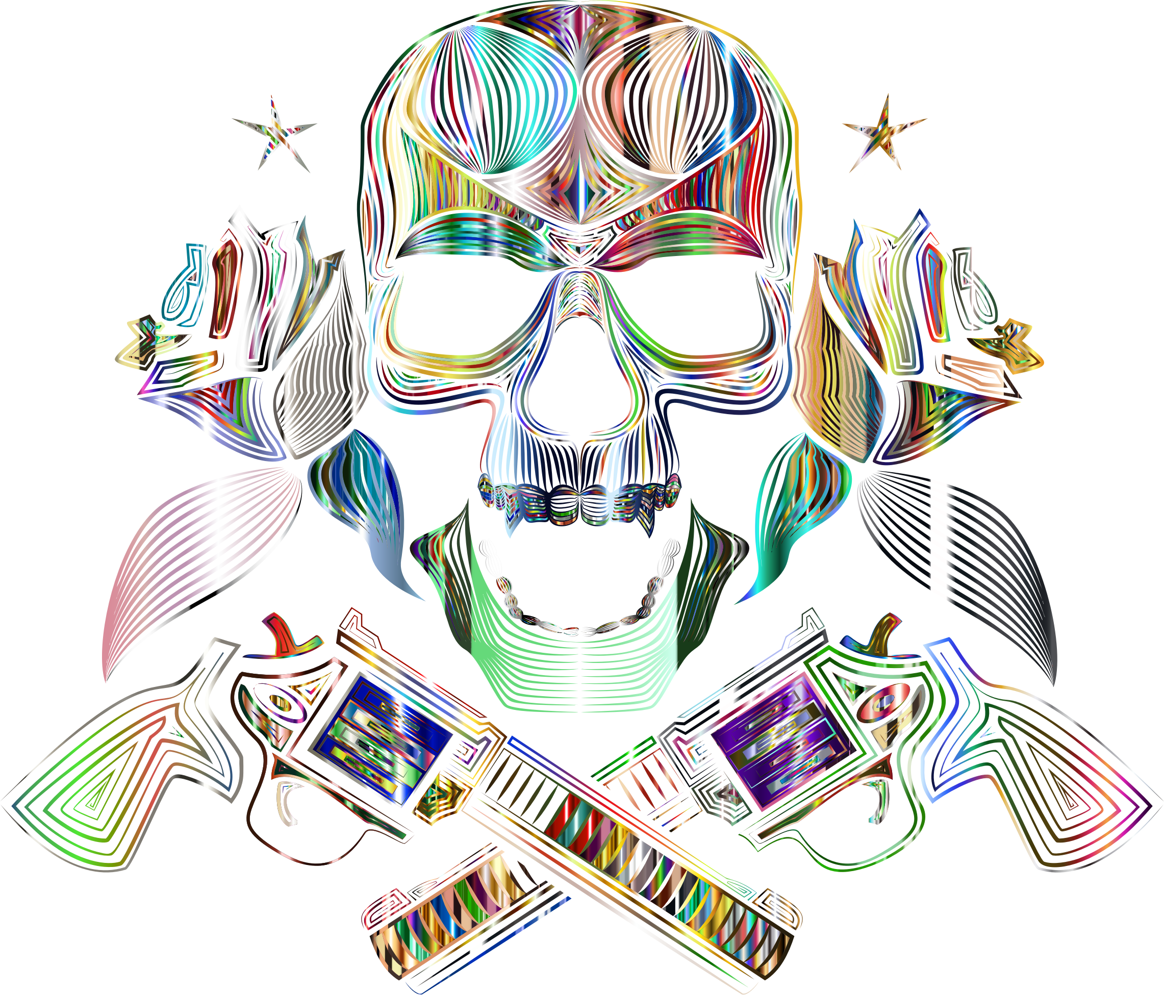 Flowers And Firearms Skull Line Art Psychedelic No BG by GDJ