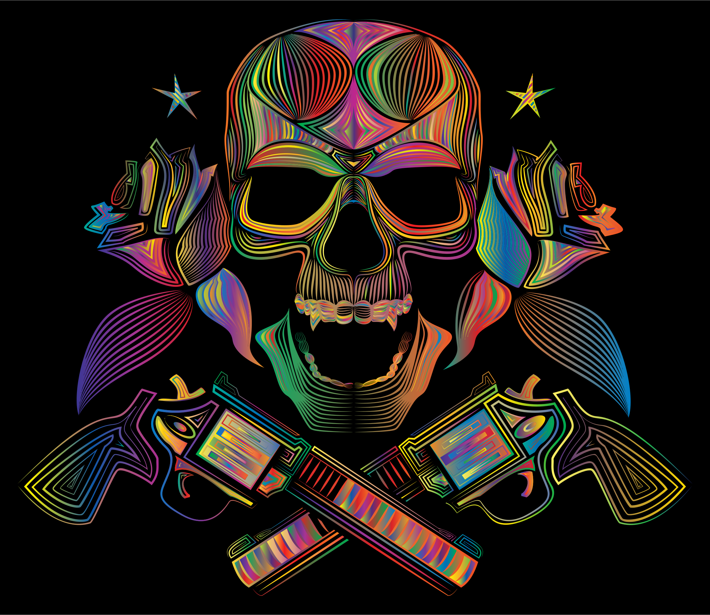 Flowers And Firearms Skull Line Art Polyprismatic by GDJ
