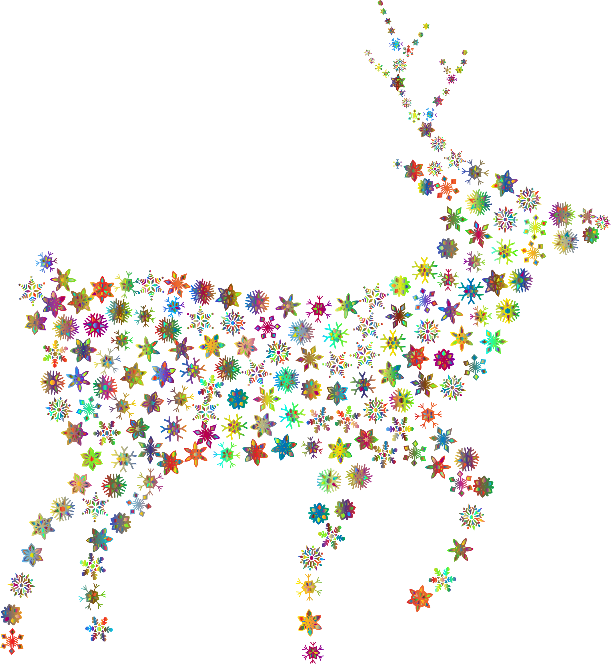 Deer Silhouette Snowflakes Polyprismatic No BG by GDJ