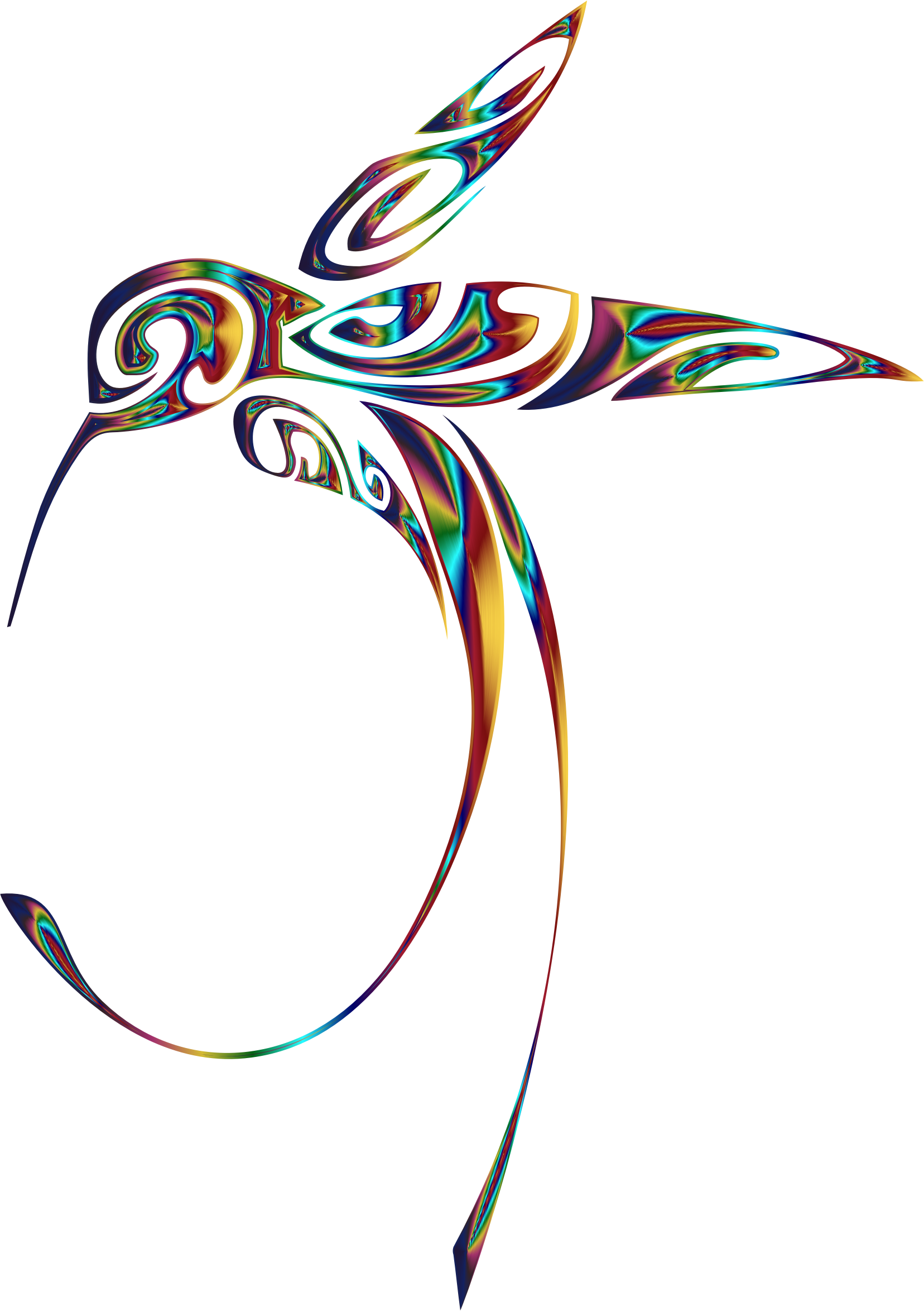 Ornamental Hummingbird Line Art Psychedelic by GDJ