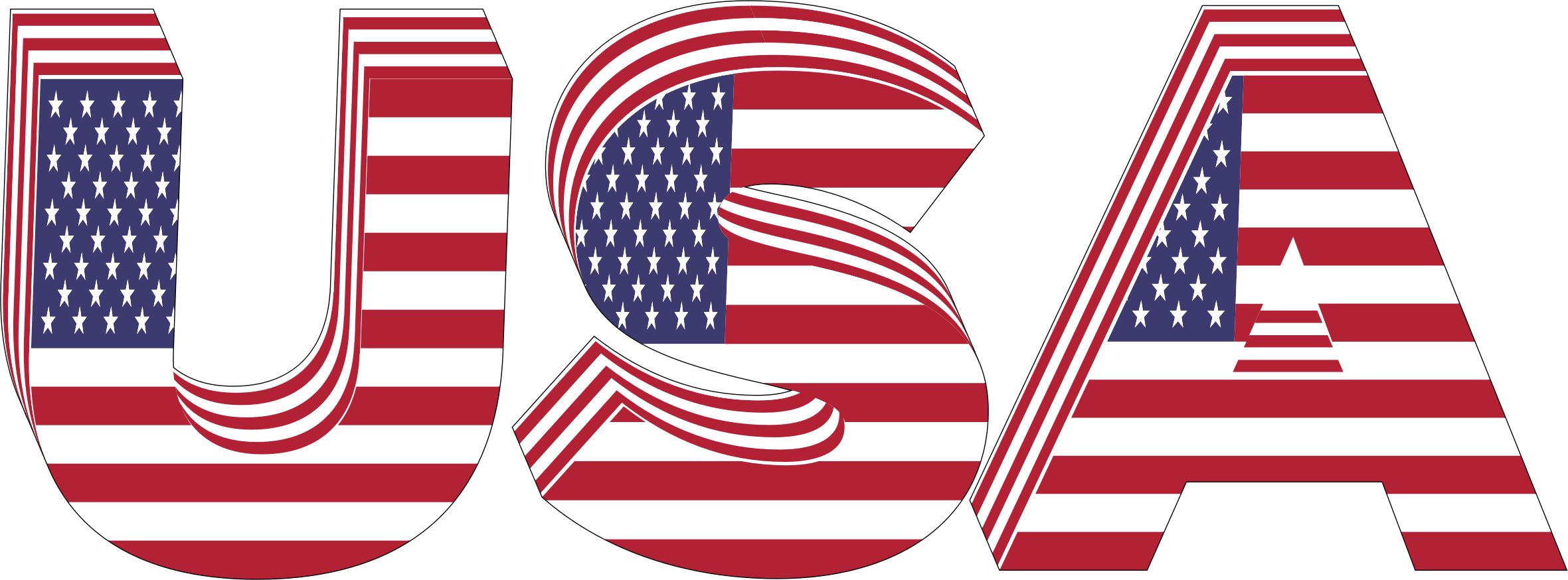 USA 3D Flag Typography With Stroke by GDJ